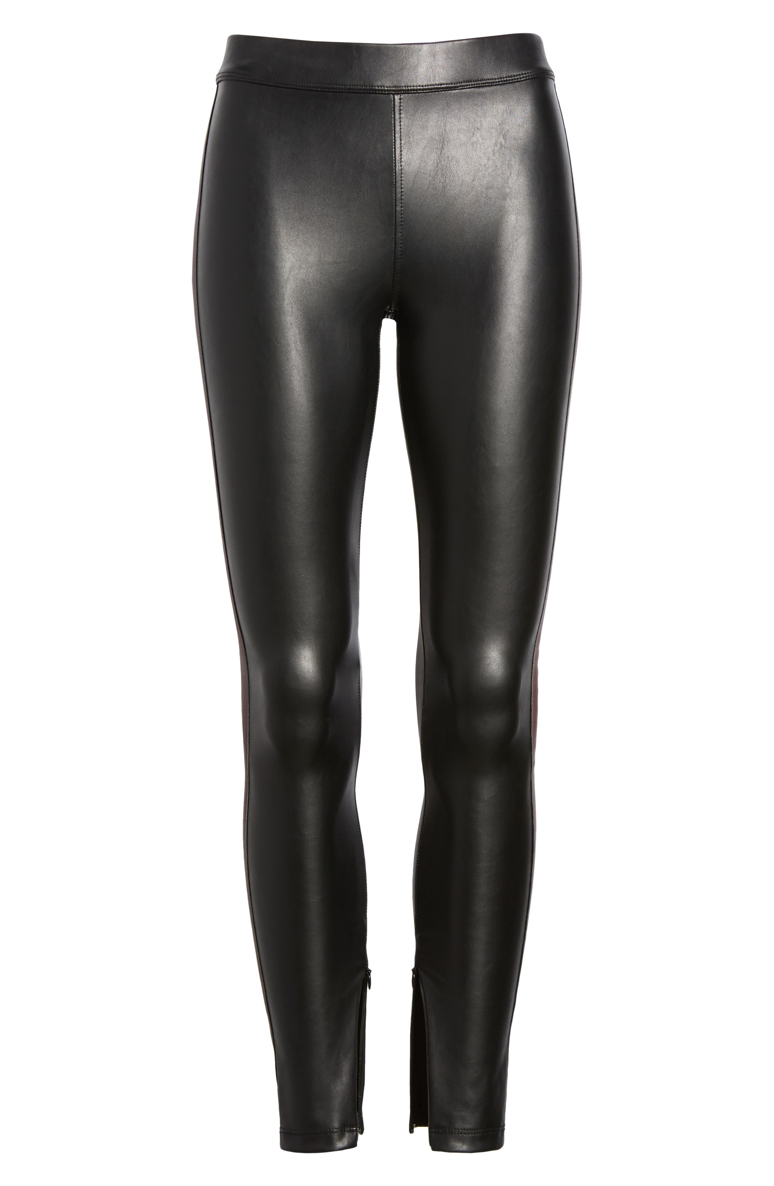 Tuxedo Stripe Zip Faux Leather Leggings,                             Alternate thumbnail 12, color,