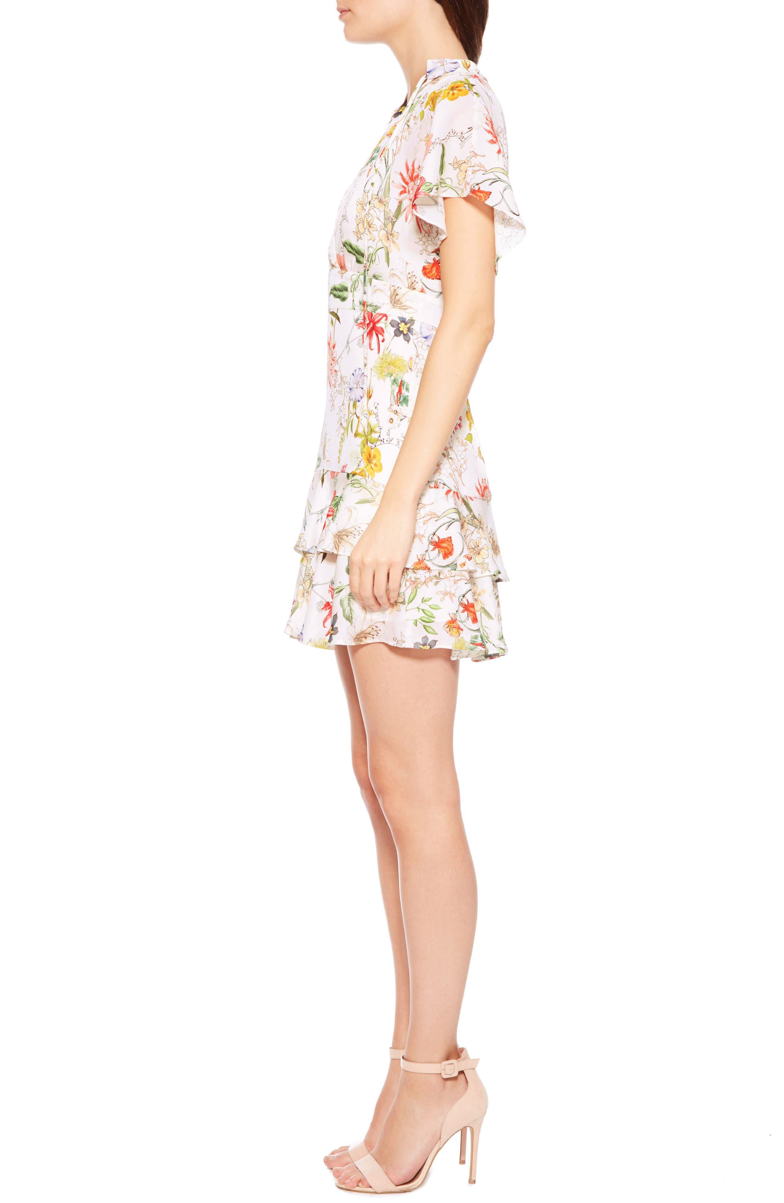 Natalie Floral Silk Dress,                             Alternate thumbnail 3, color,                             908