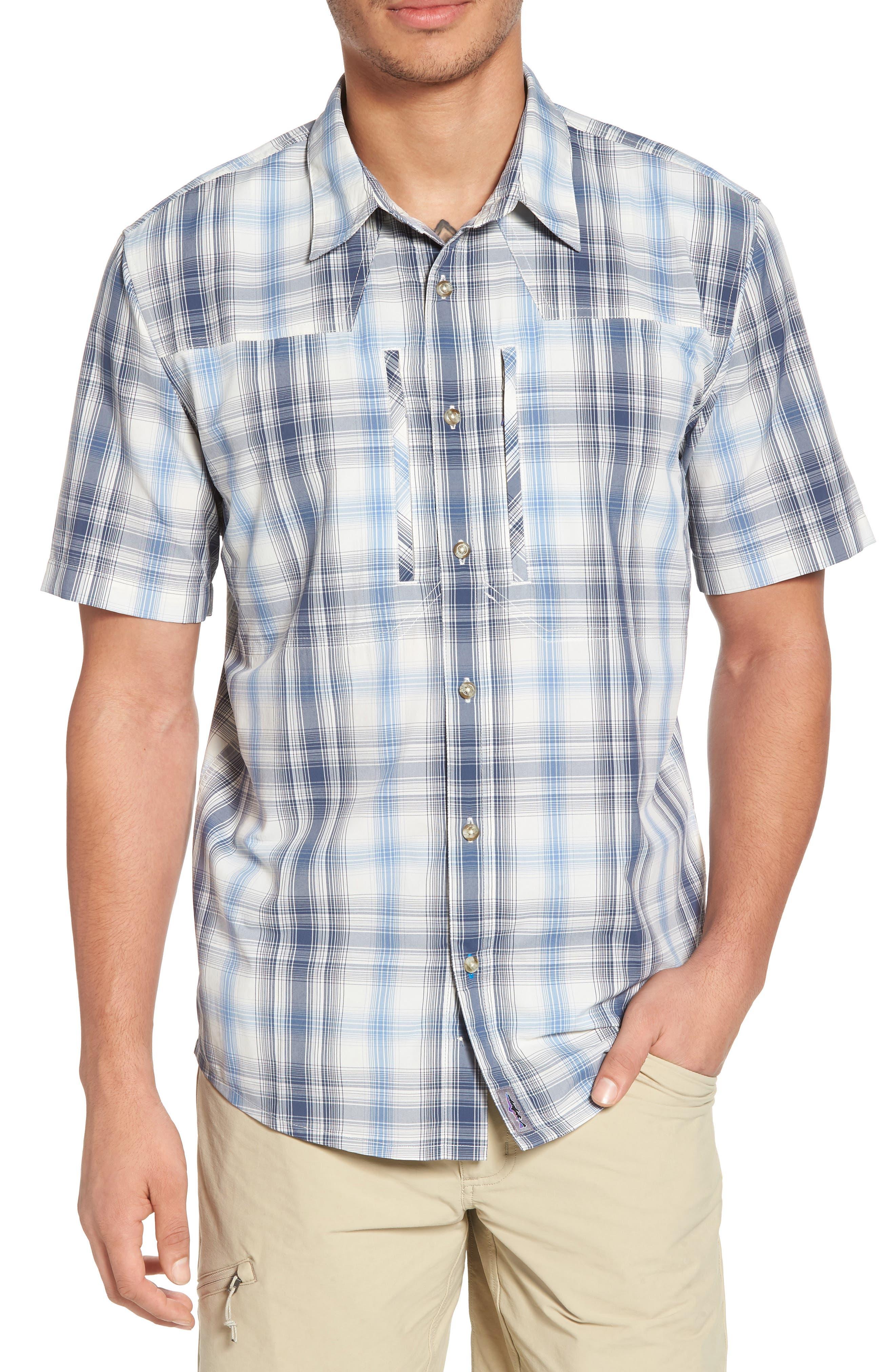 M's Sun Plaid Stretch Hybrid Shirt,                         Main,                         color, KING SWING RADAR BLUE