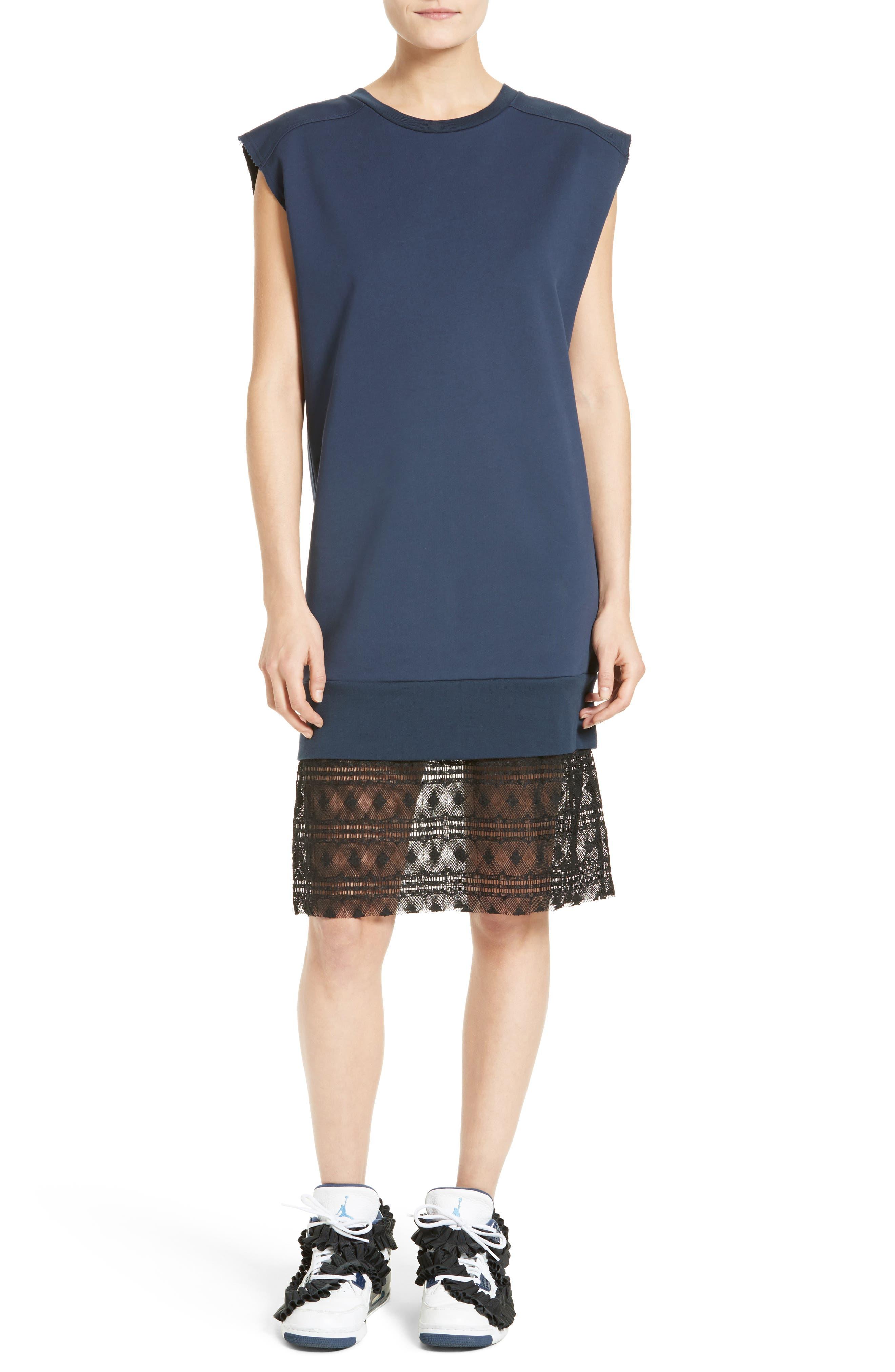 Tesa Lace Trim Sweatshirt Dress,                             Alternate thumbnail 5, color,                             400
