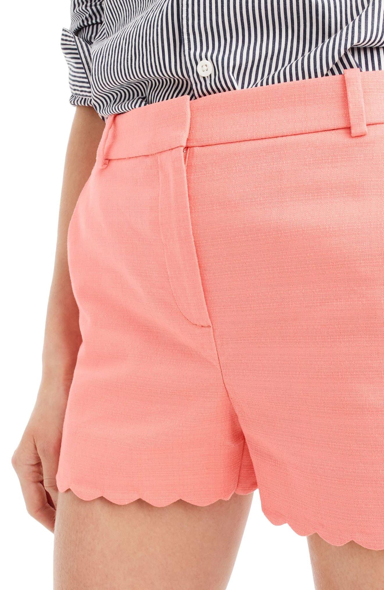 Fiesta Scallop Hem Stretch Cotton Shorts,                             Alternate thumbnail 6, color,
