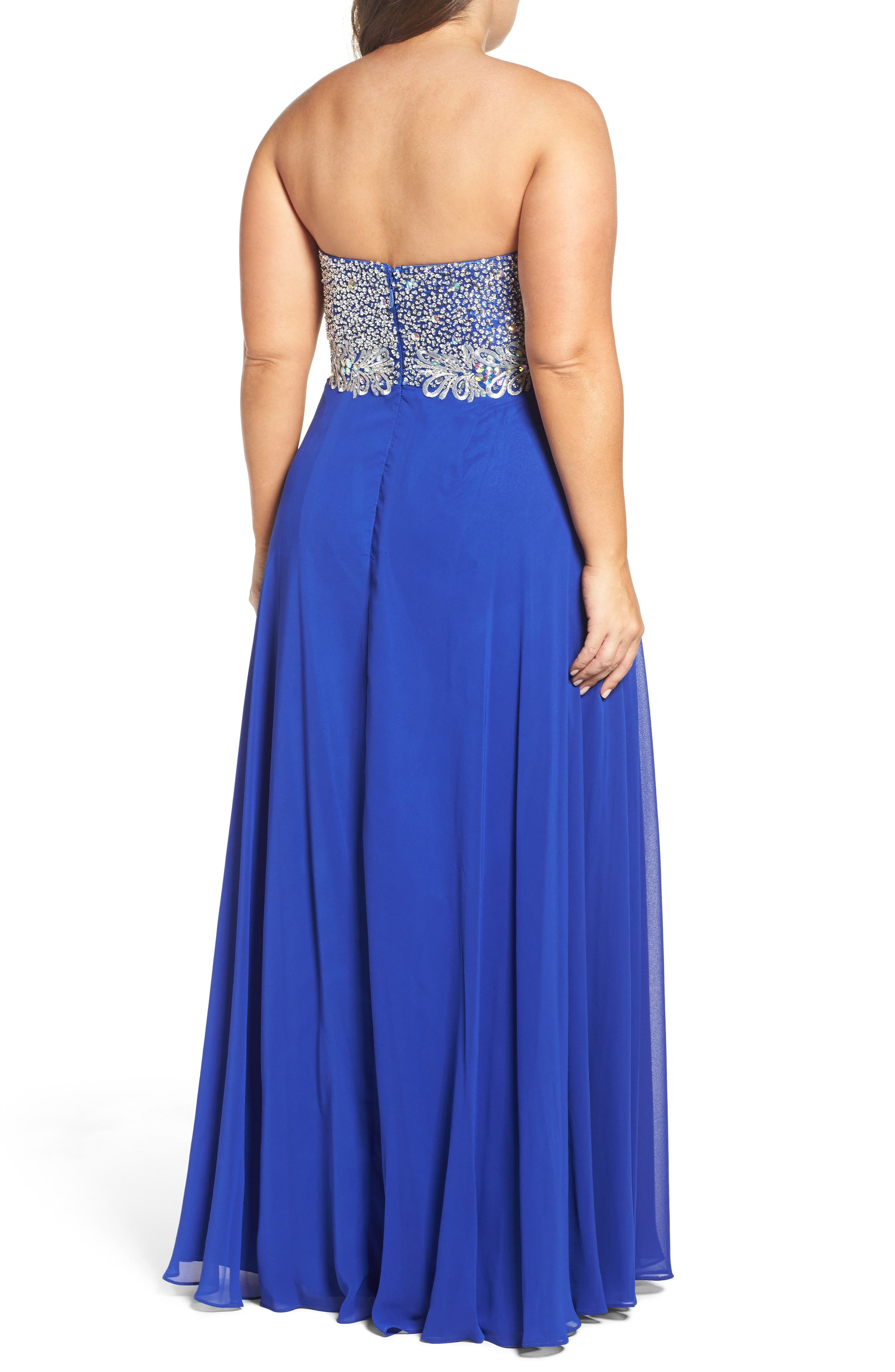 Embellished Strapless Gown,                             Alternate thumbnail 2, color,                             432
