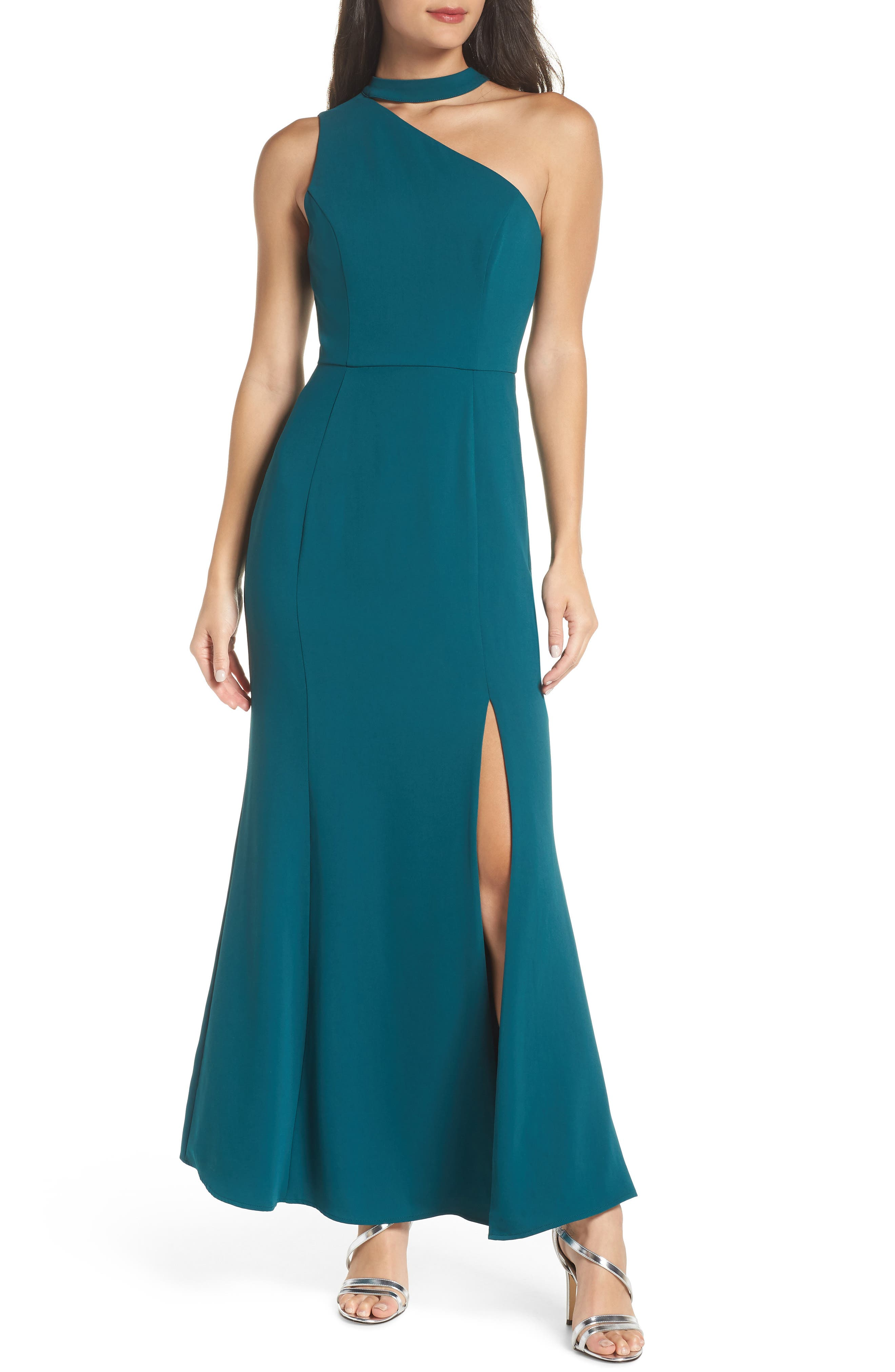 HARLYN One-Shoulder Choker Collar Gown in Forest Green