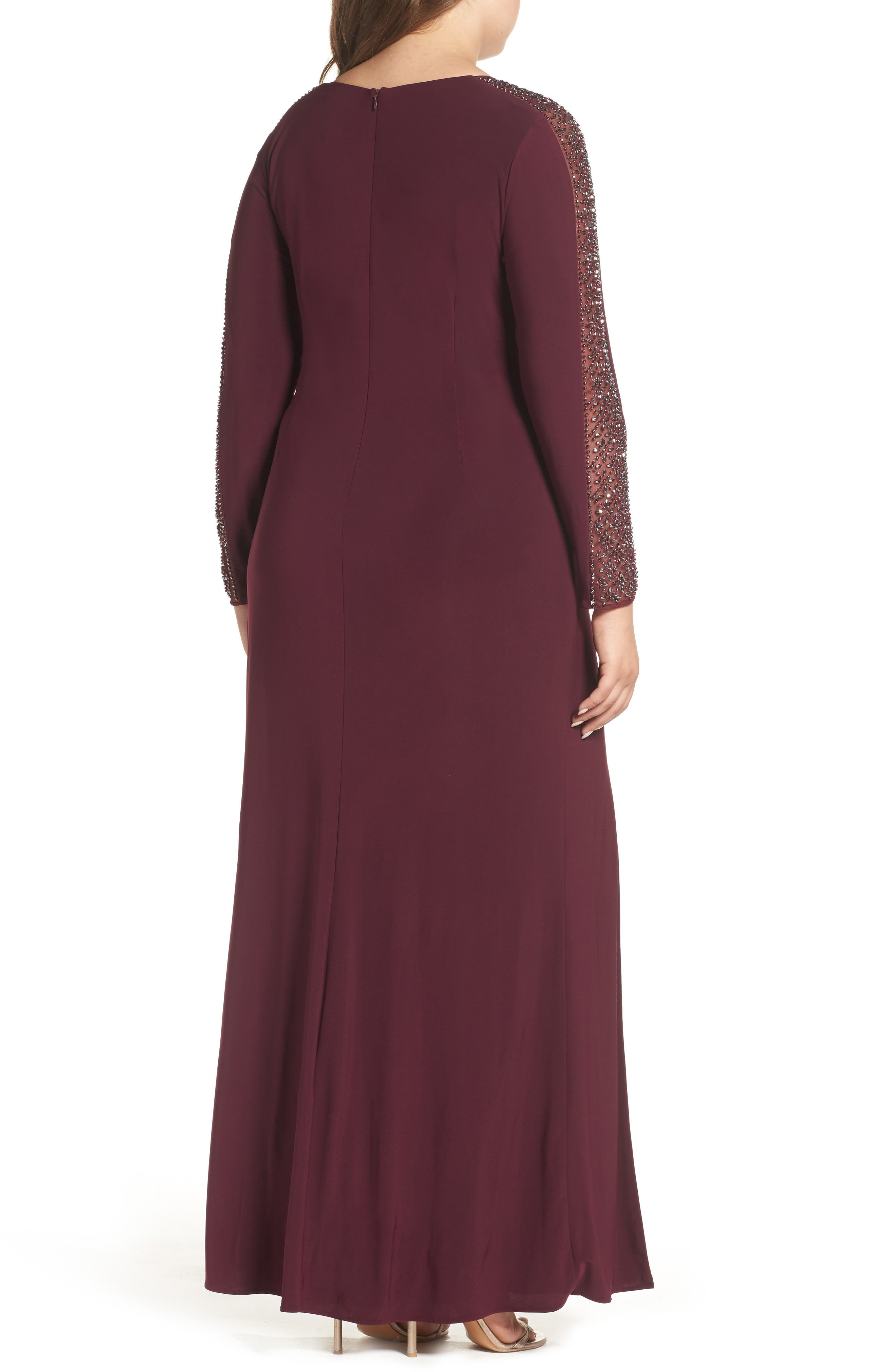 Embellished Jersey A-Line Gown,                             Alternate thumbnail 4, color,