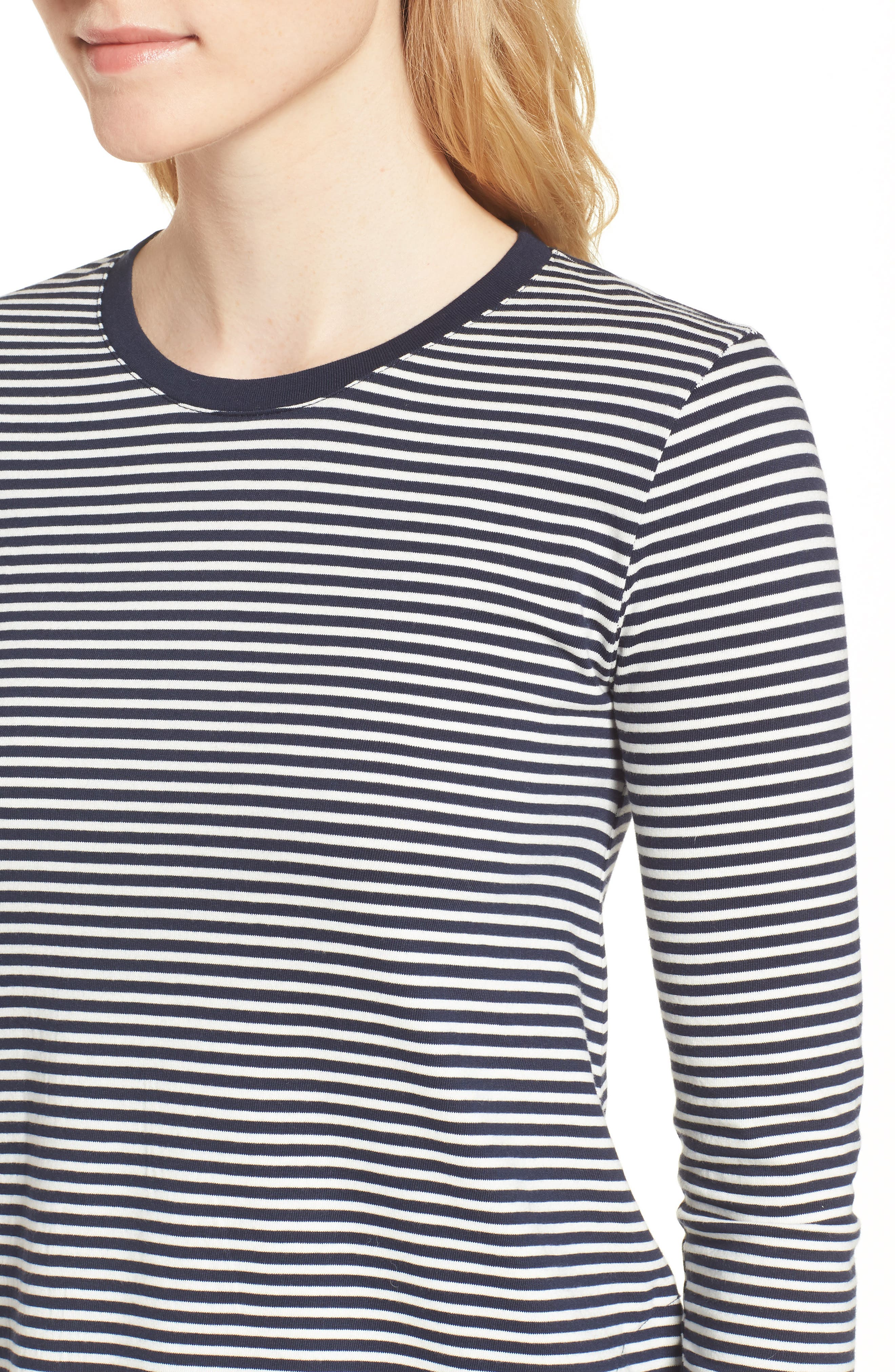 Easy Pocket Cotton Knit Stripe Dress,                             Alternate thumbnail 4, color,