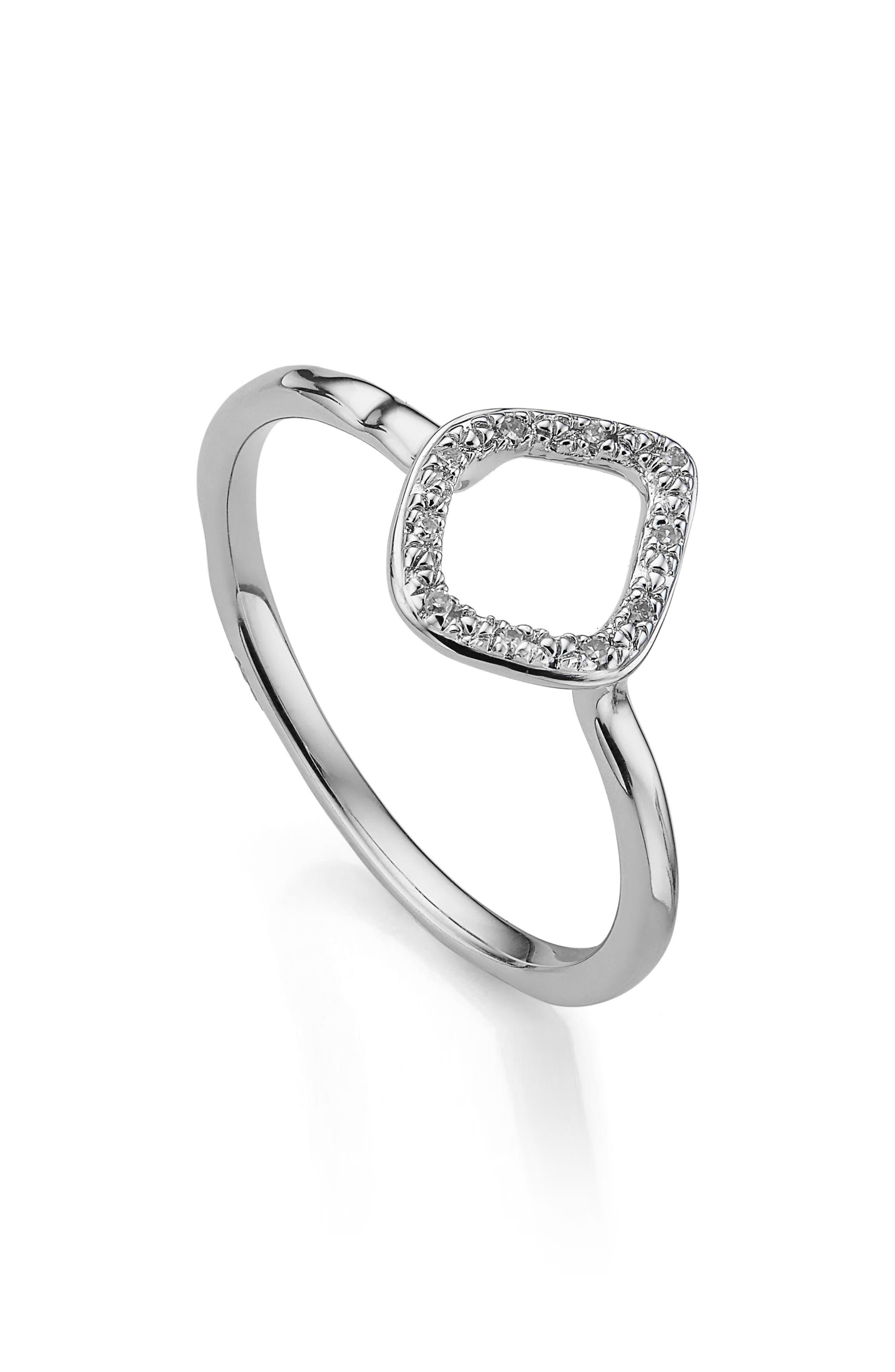 Riva Mini Kite Diamond Stacking Ring,                             Main thumbnail 1, color,                             SILVER