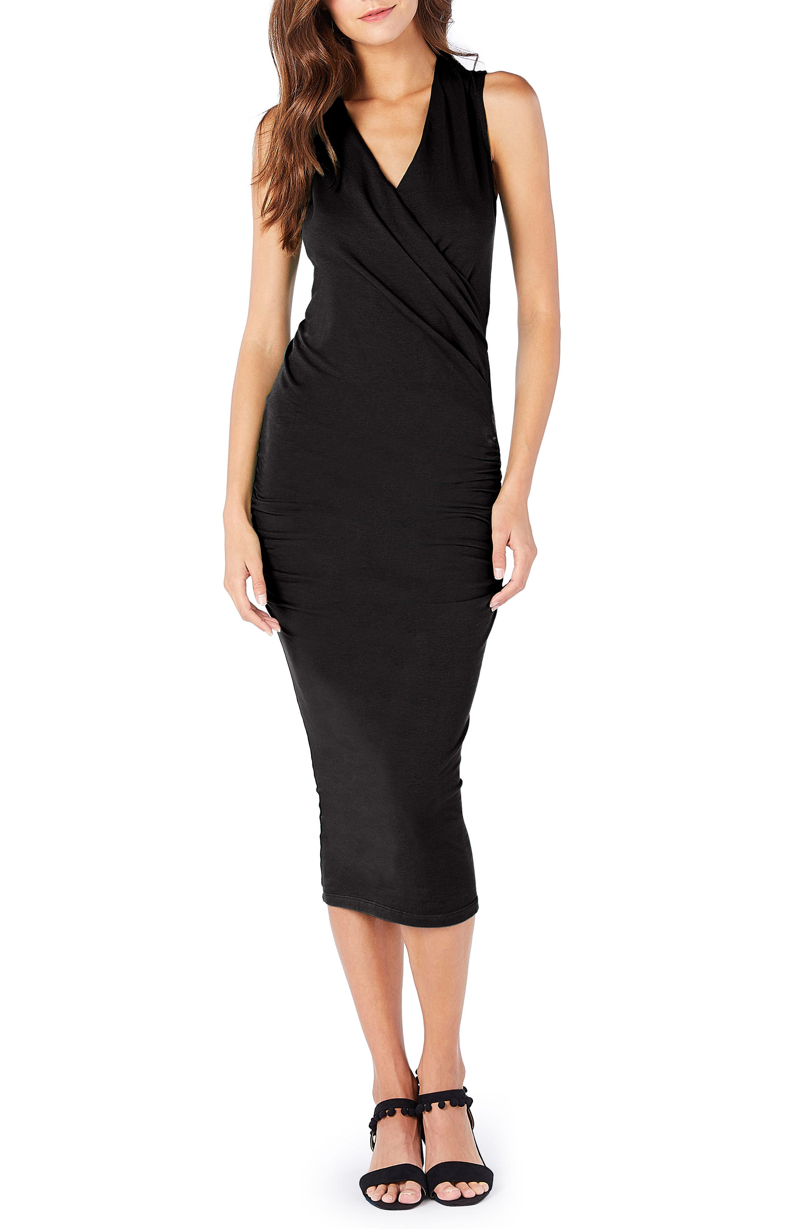 MICHAEL STARS Faux Wrap Midi Dress, Main, color, BLACK
