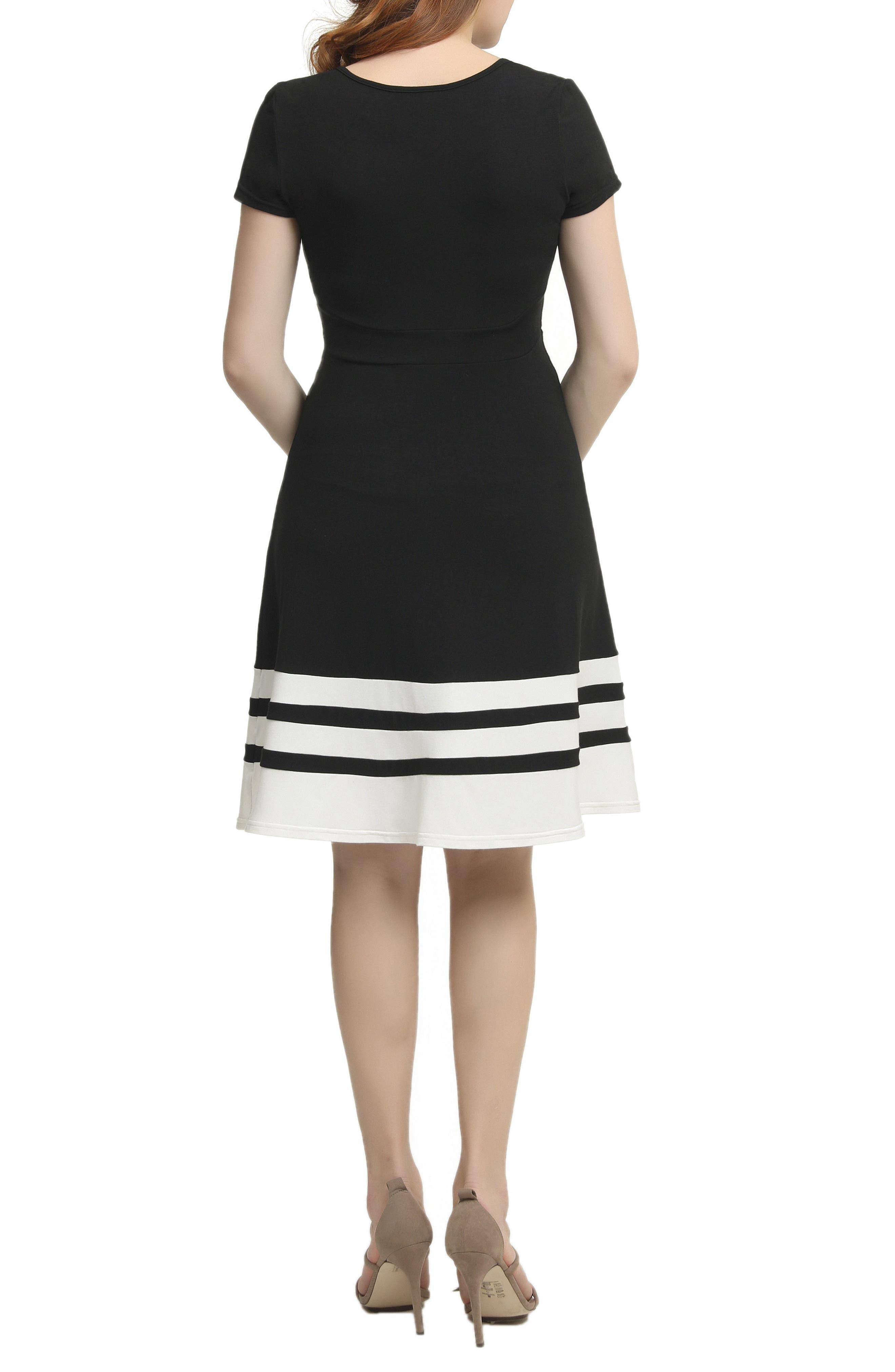 Theresa Colorblock Maternity Skater Dress,                             Alternate thumbnail 2, color,                             BLACK/ WHITE