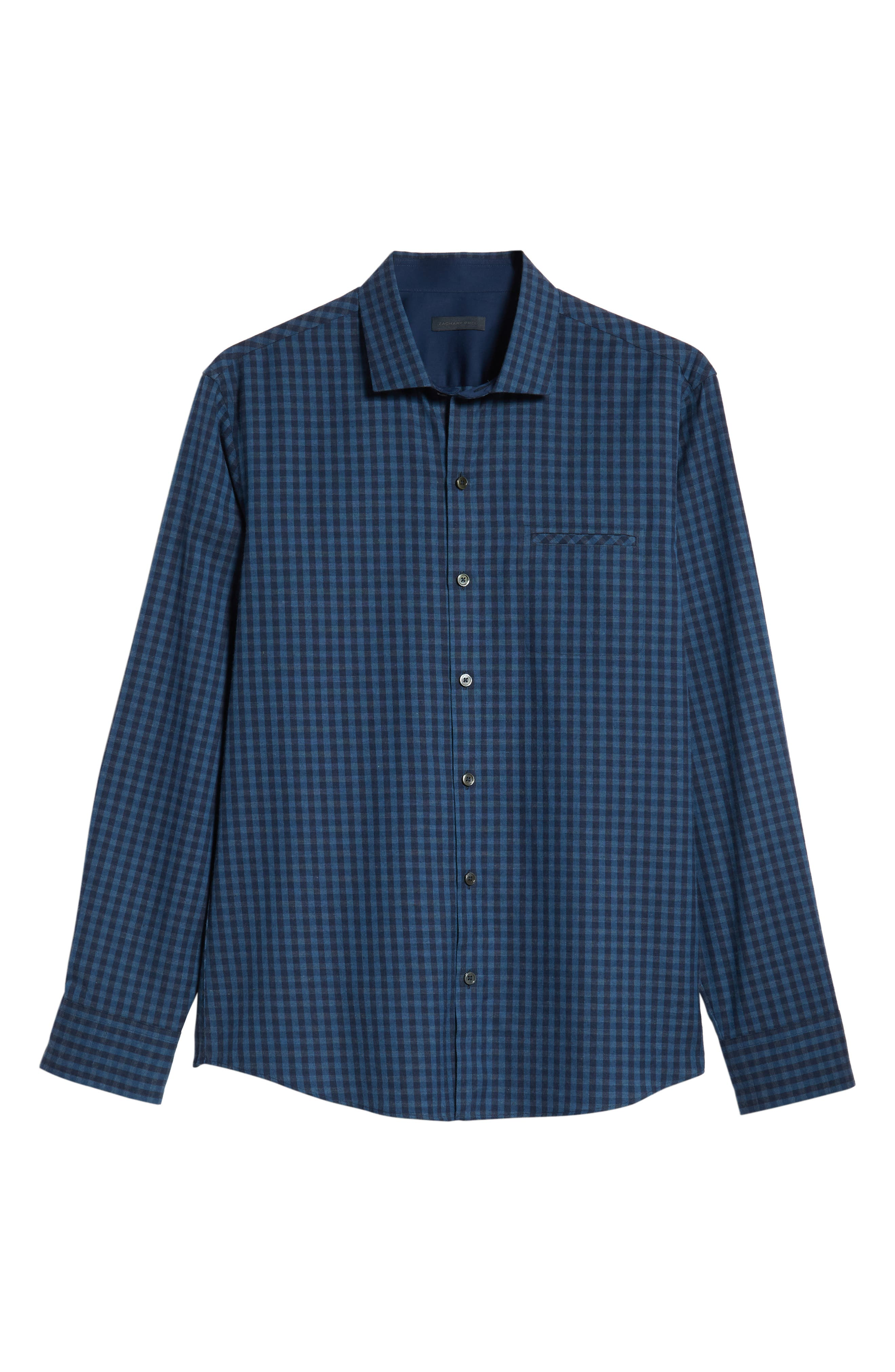 Santana Check Sport Shirt,                             Alternate thumbnail 5, color,                             DARK BLUE