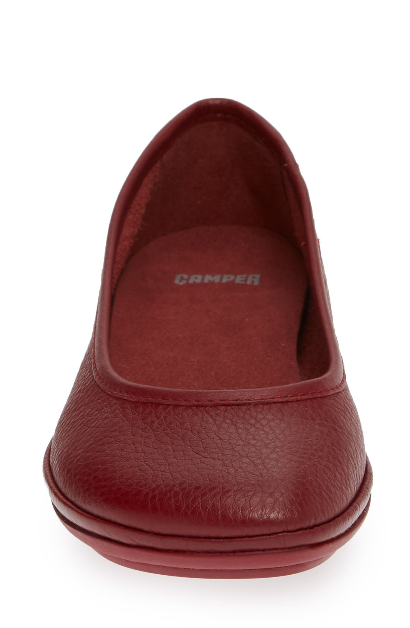 Right Nina Ballet Flat,                             Alternate thumbnail 4, color,                             RED LEATHER