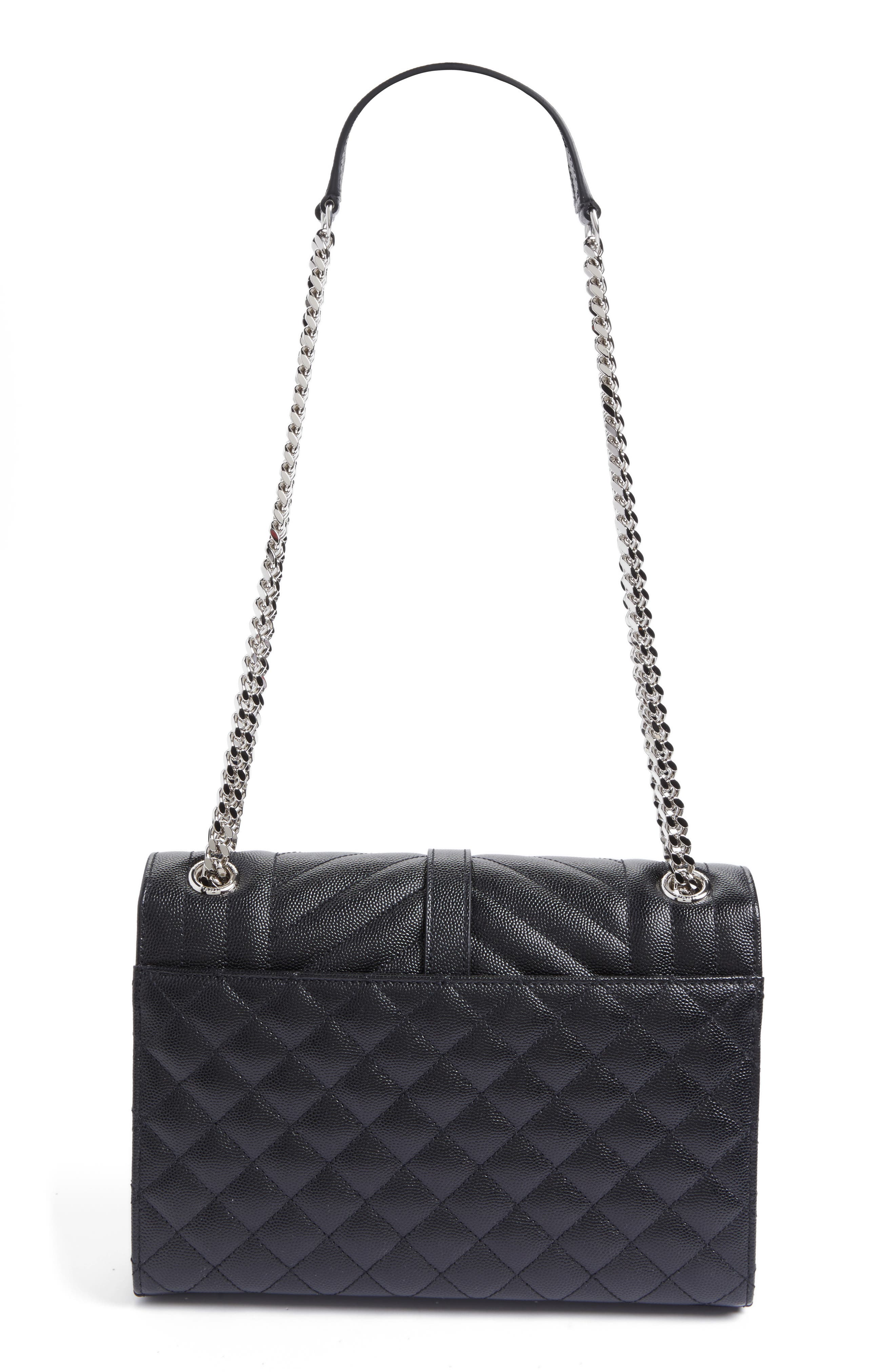 Medium Monogram Quilted Leather Shoulder Bag,                             Alternate thumbnail 3, color,                             NERO