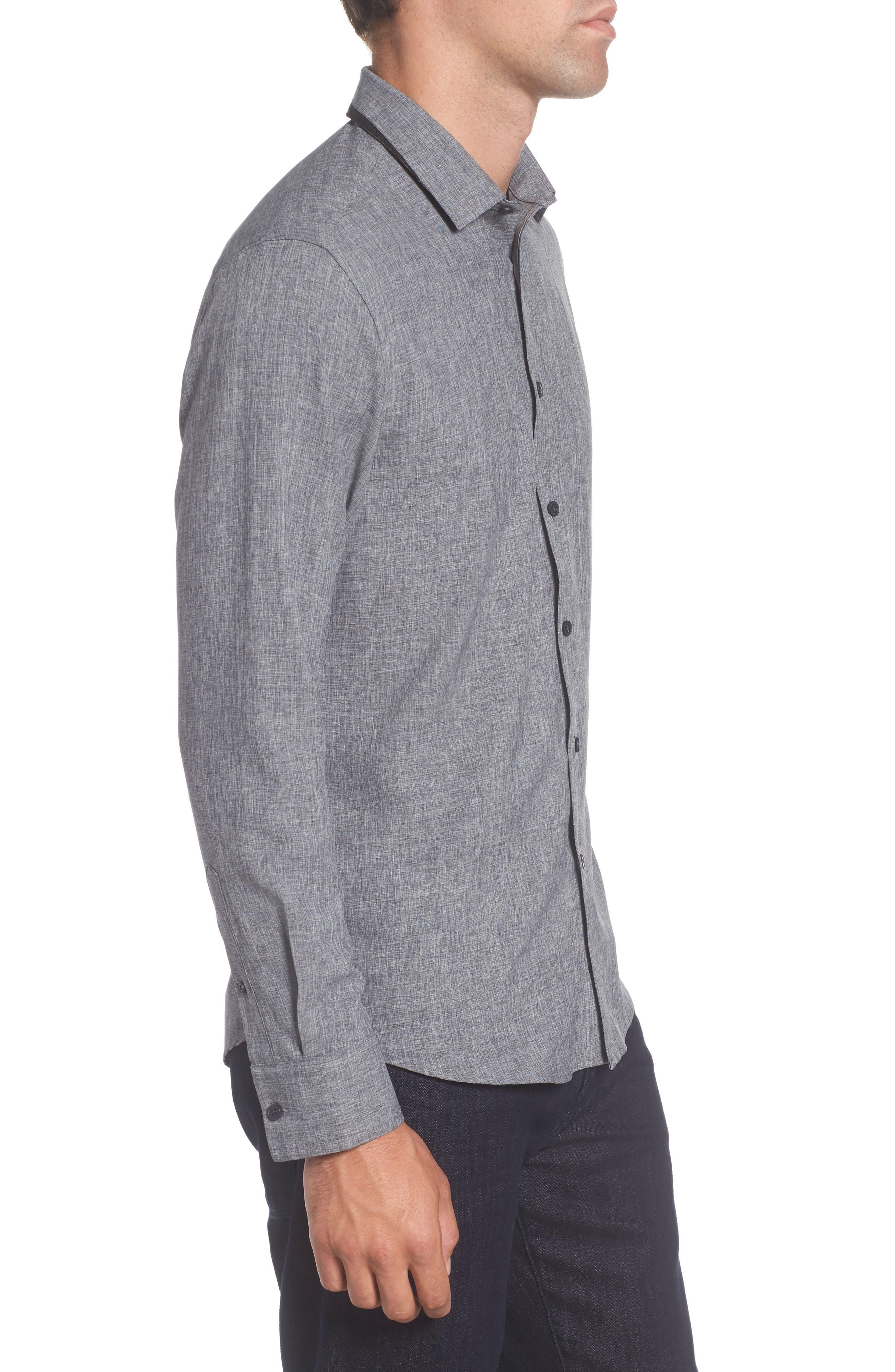 Trim Fit Performance Knit Sport Shirt,                             Alternate thumbnail 3, color,                             CHARCOAL SCRATCH