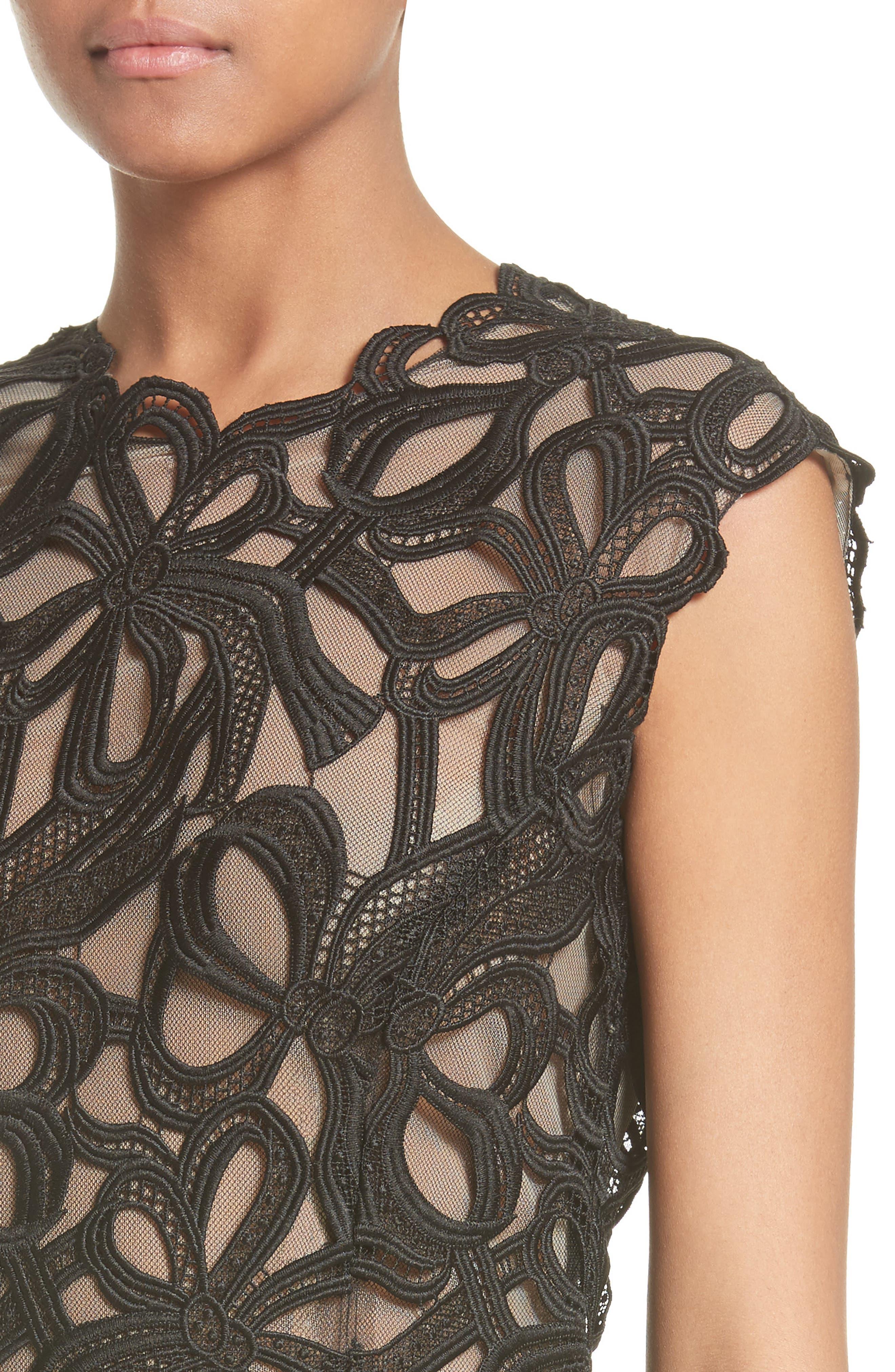 Ribbon Guipure Lace Midi Dress,                             Alternate thumbnail 4, color,                             001