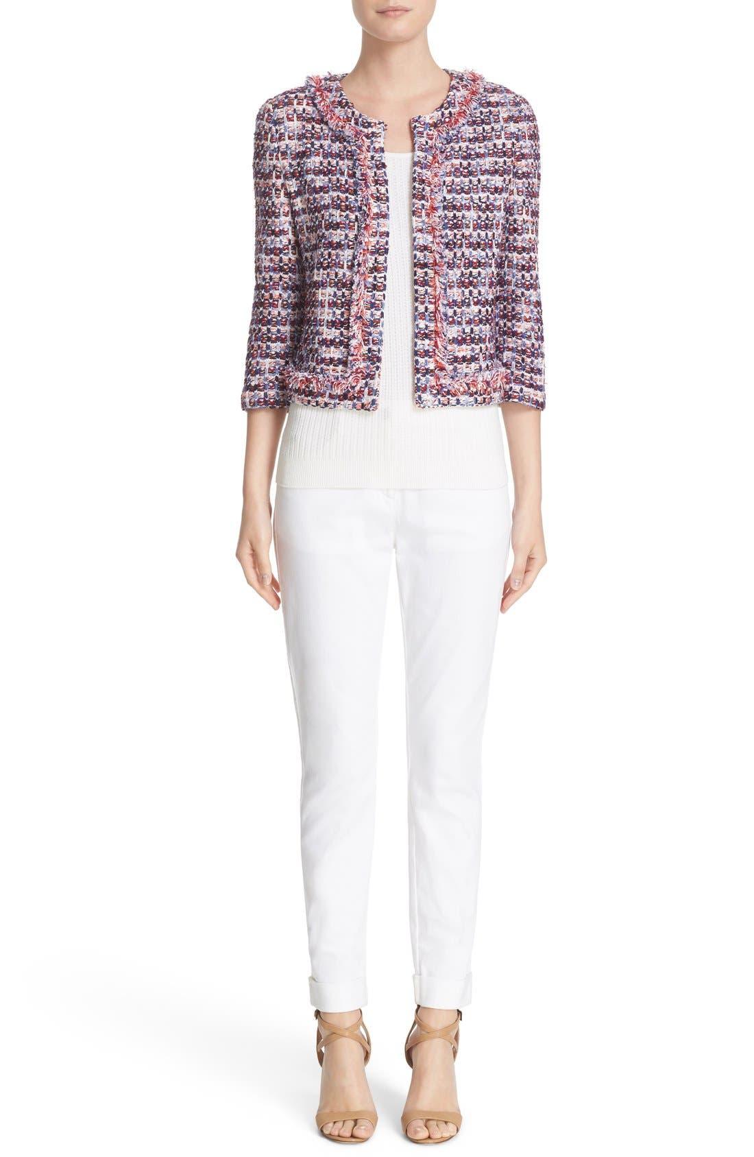 St. John Sport Collection Bardot Slim Capri Jeans,                             Alternate thumbnail 9, color,                             BIANCO