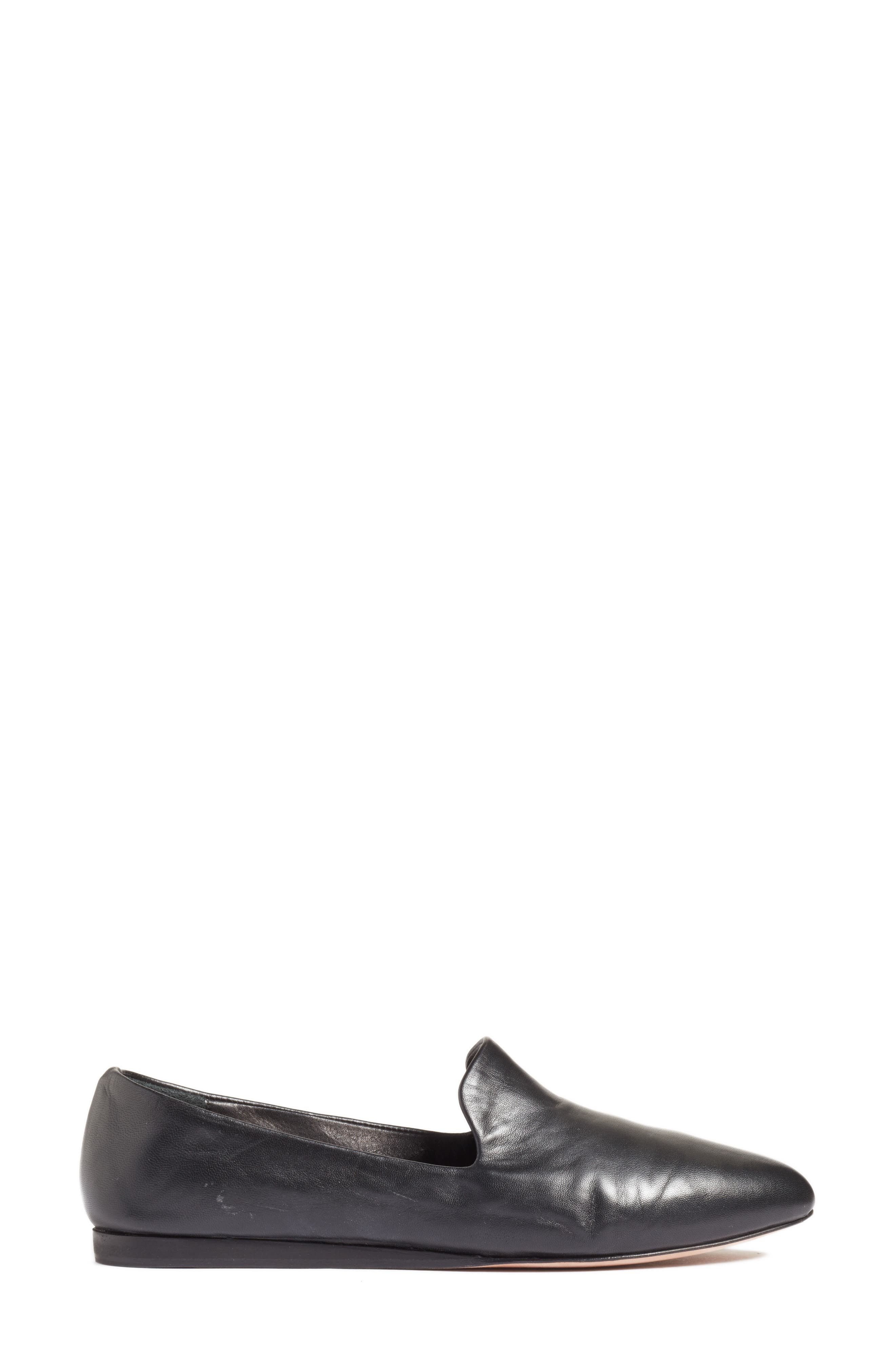 Griffin Pointy Toe Loafer,                             Alternate thumbnail 3, color,                             BLACK