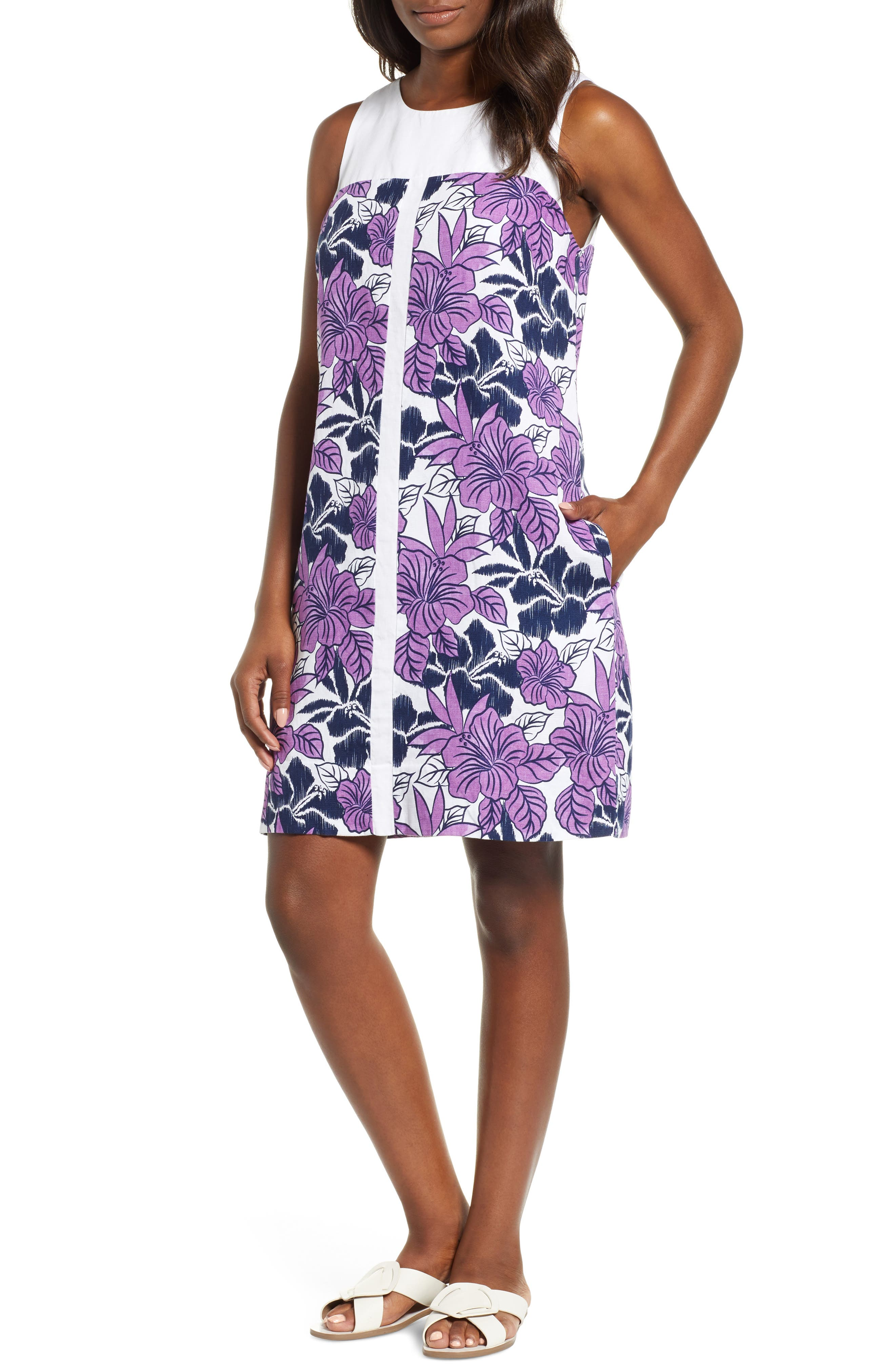 Blissful Blooms Shift Dress, Main, color, VIVID PURPLE