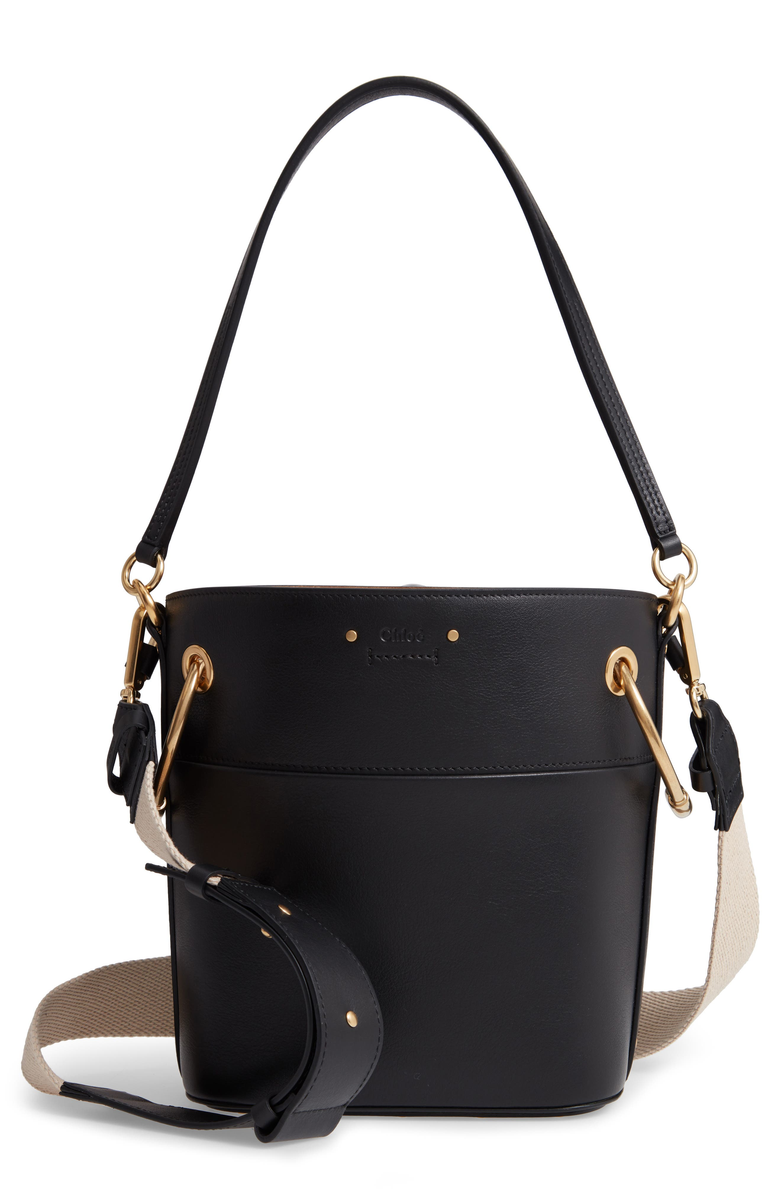Roy Small Leather Bucket Bag,                             Main thumbnail 1, color,                             BLACK