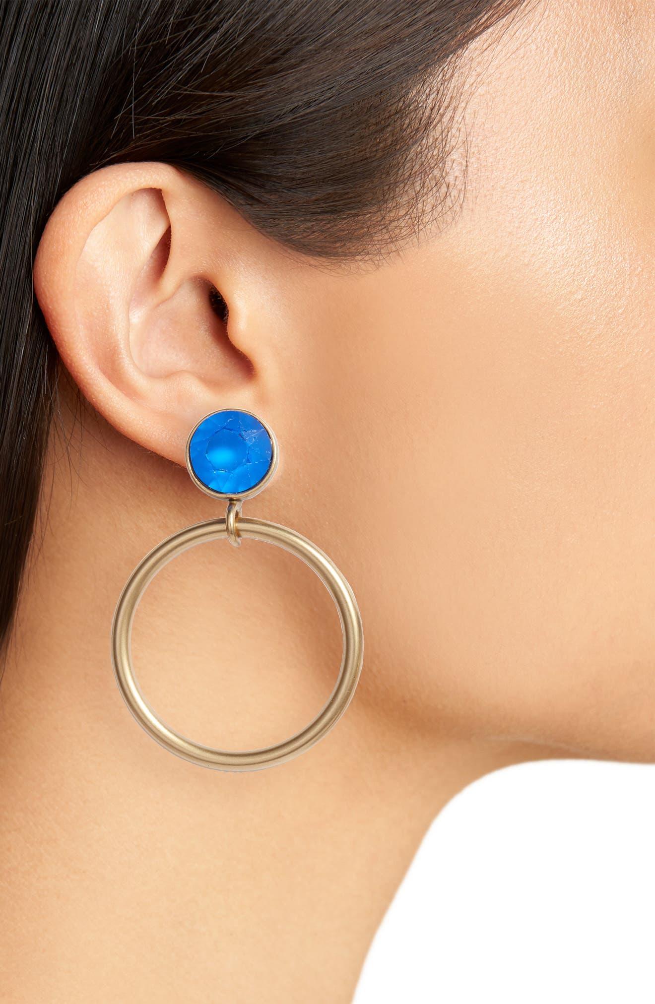 Cecelia Crystal Drop Hoop Earrings,                             Alternate thumbnail 2, color,                             SAPPHIRE