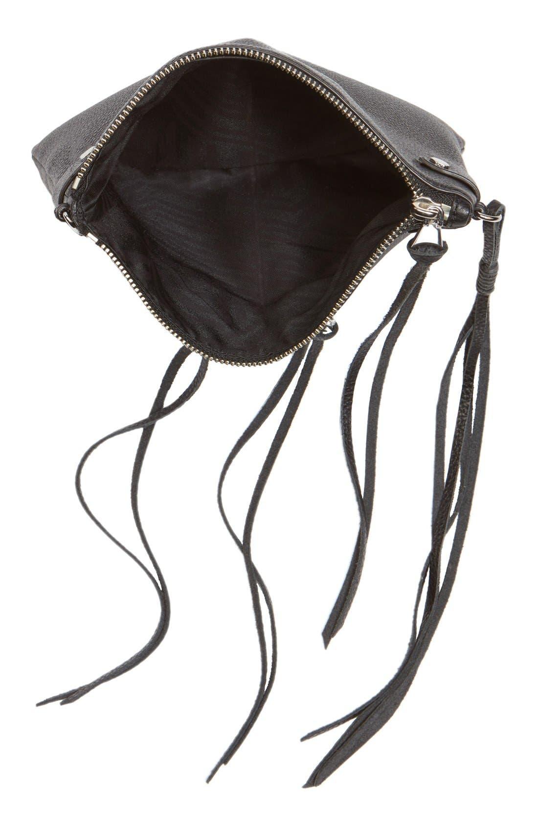 'Moto Jon' Leather Crossbody Bag,                             Alternate thumbnail 6, color,                             001