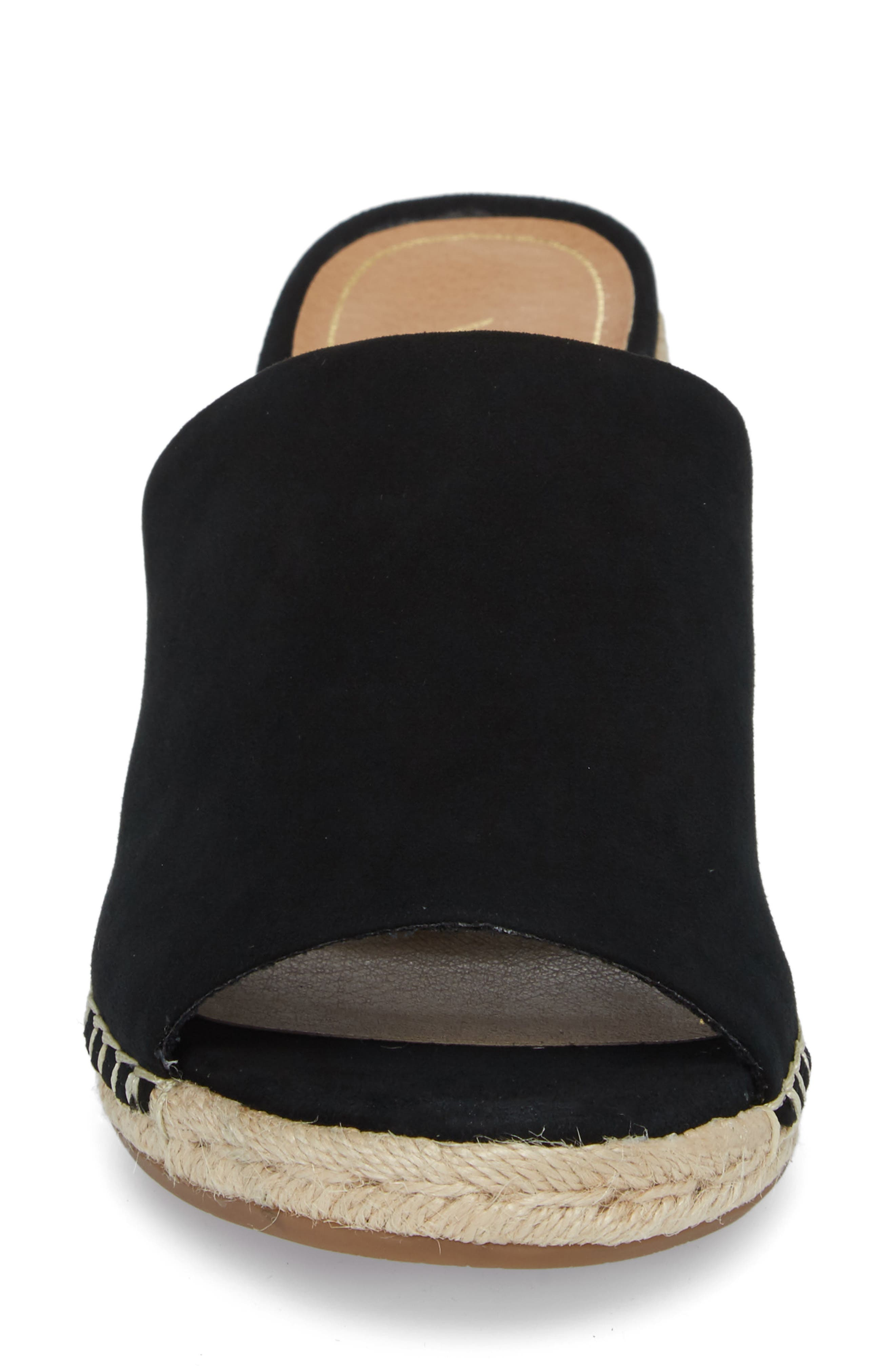 Kadyn Espadrille Wedge Sandal,                             Alternate thumbnail 4, color,                             BLACK SUEDE
