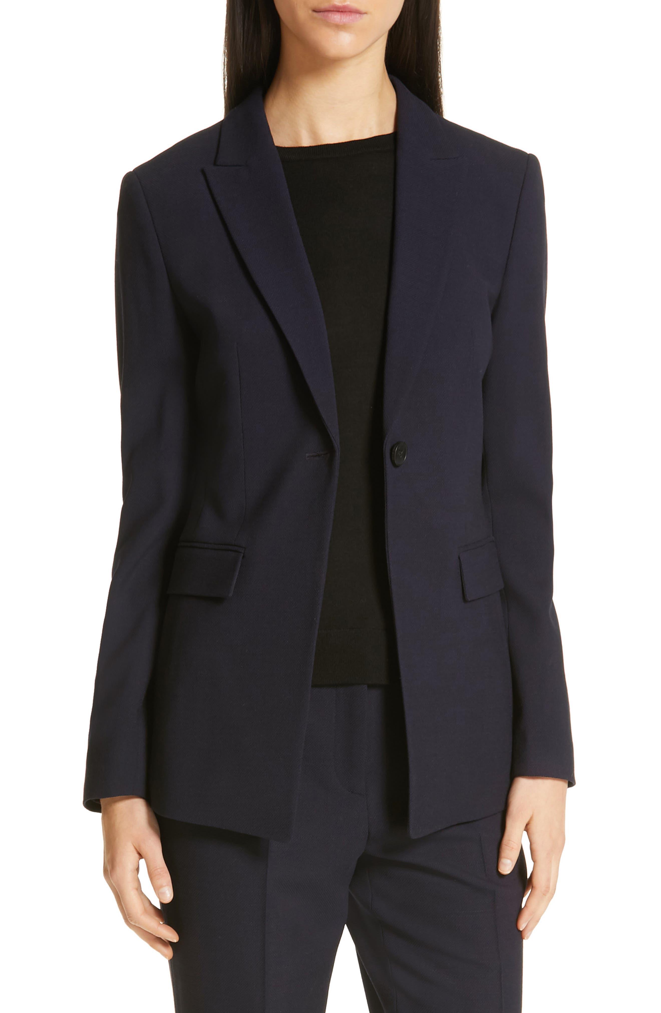 Jusanna Stretch Wool Suit Jacket,                             Main thumbnail 1, color,                             NAVY