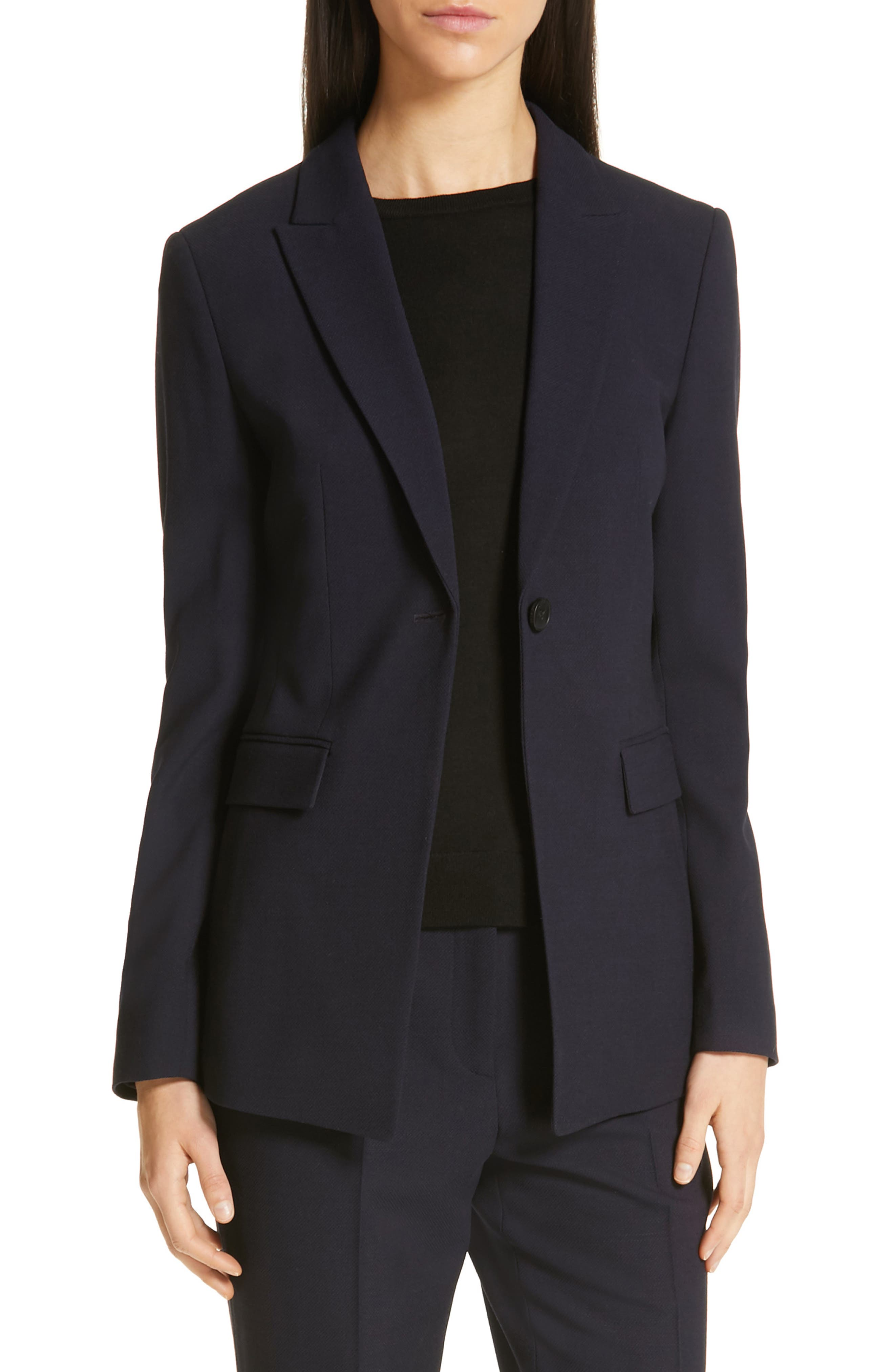 Jusanna Stretch Wool Suit Jacket, Main, color, NAVY