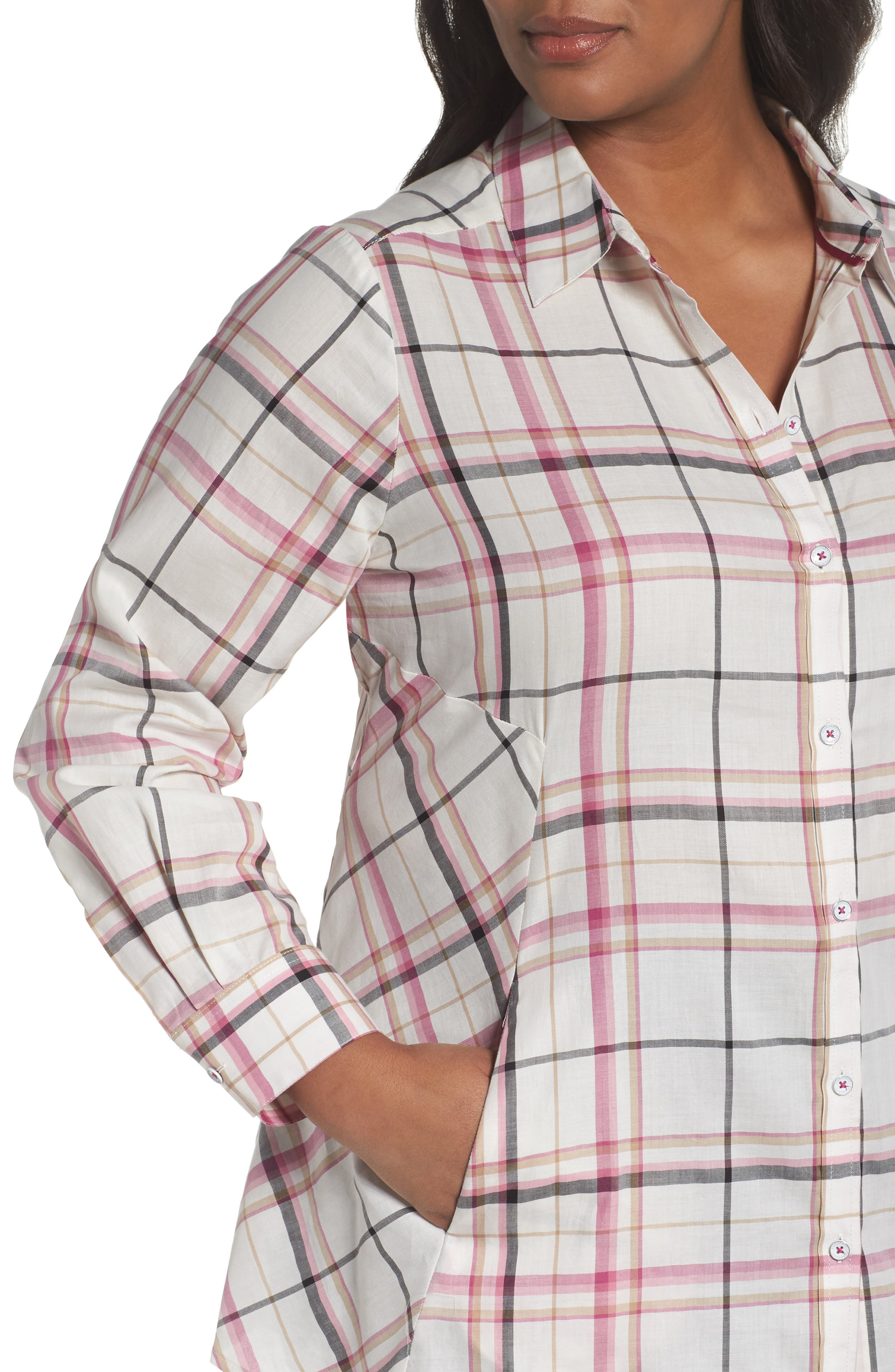 Cici Herringbone Plaid Tunic,                             Alternate thumbnail 4, color,                             ROSEBERRY