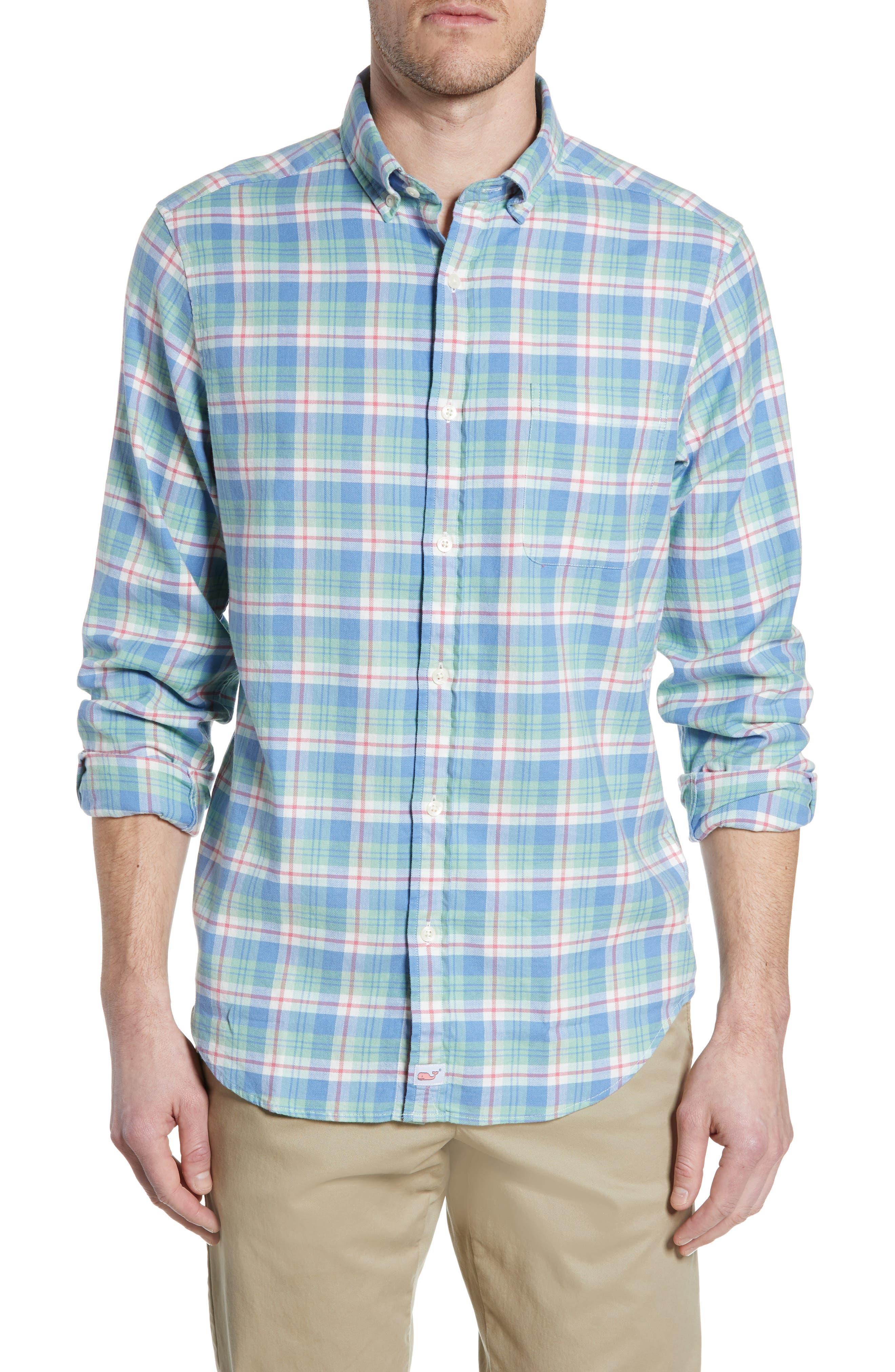 VINEYARD VINES Murray Slim Fit Twill Sport Shirt, Main, color, SEA KELP