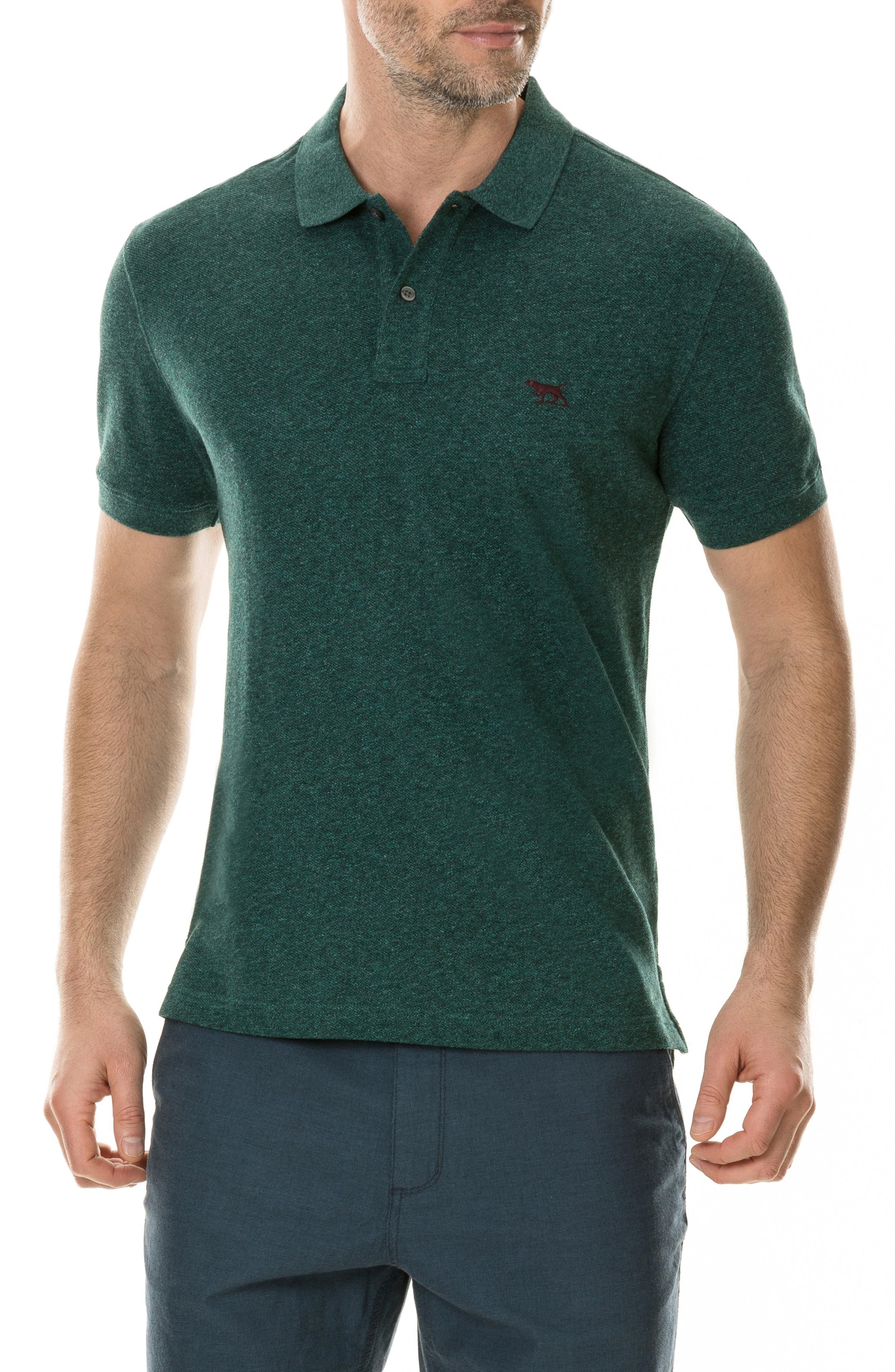 'The Gunn' Piqué Sports Fit Cotton Polo,                         Main,                         color, PINE