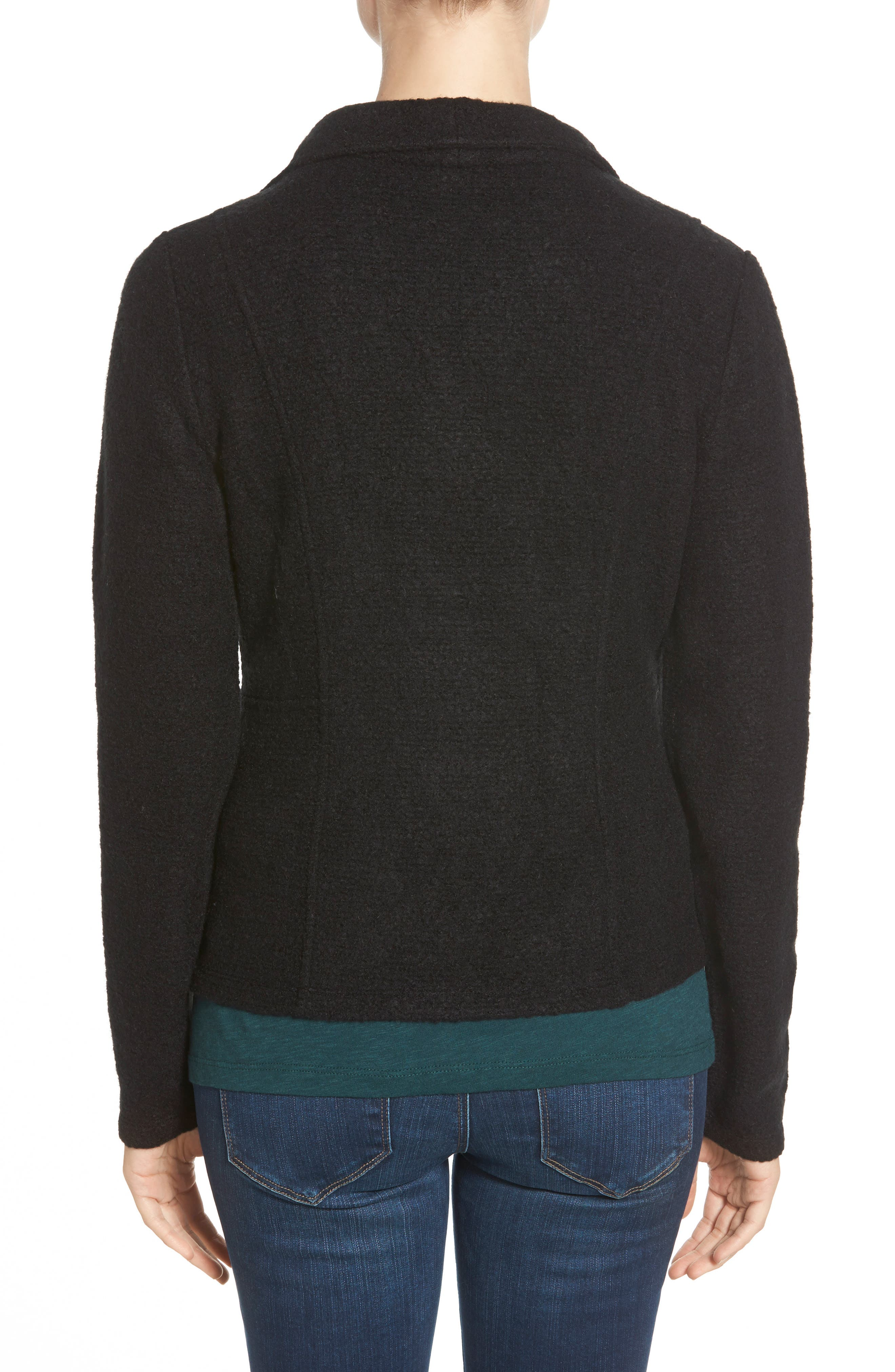 Knit Moto Jacket,                             Alternate thumbnail 3, color,                             BLACK