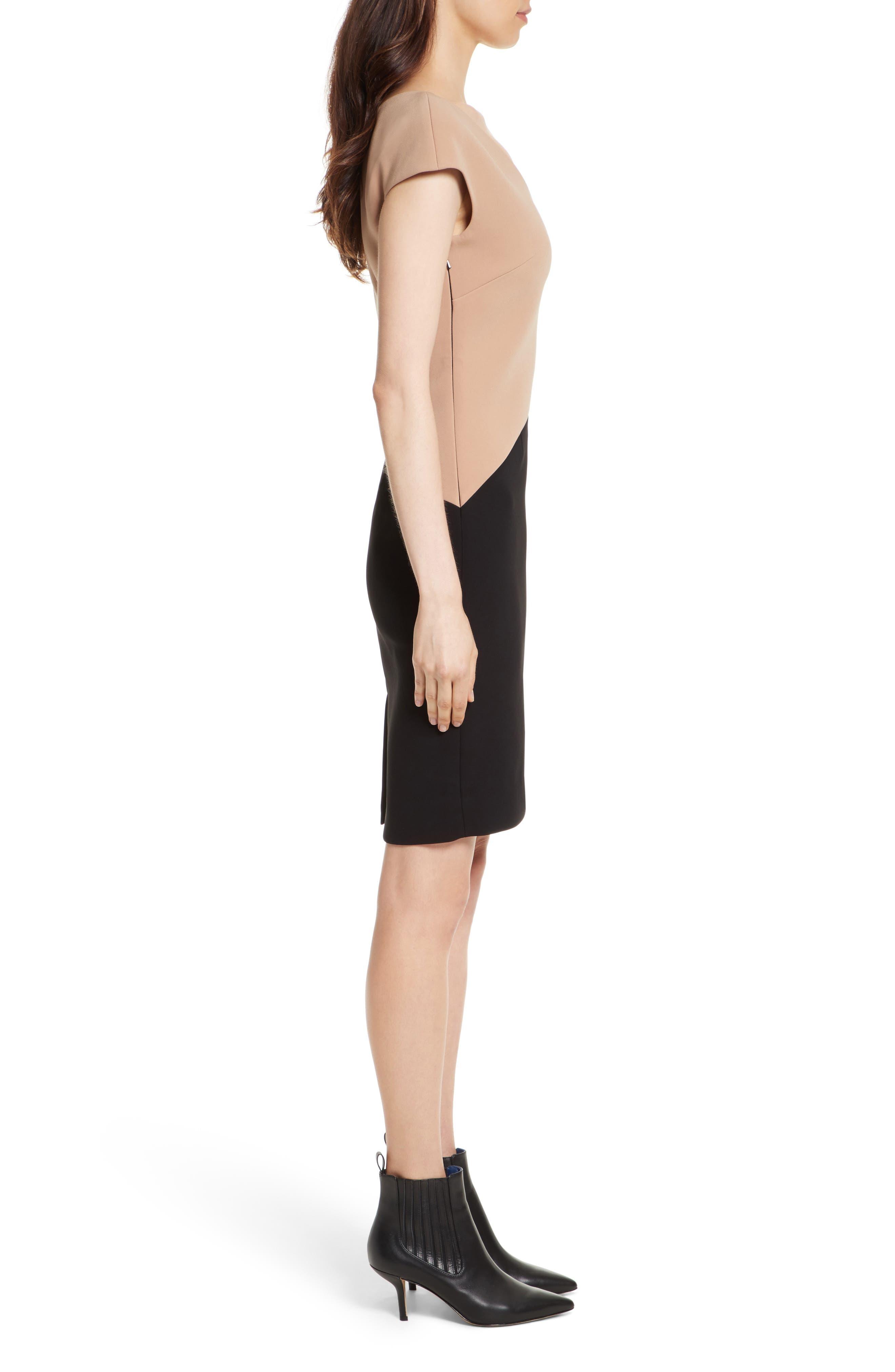 Colorblock Sheath Dress,                             Alternate thumbnail 3, color,                             003