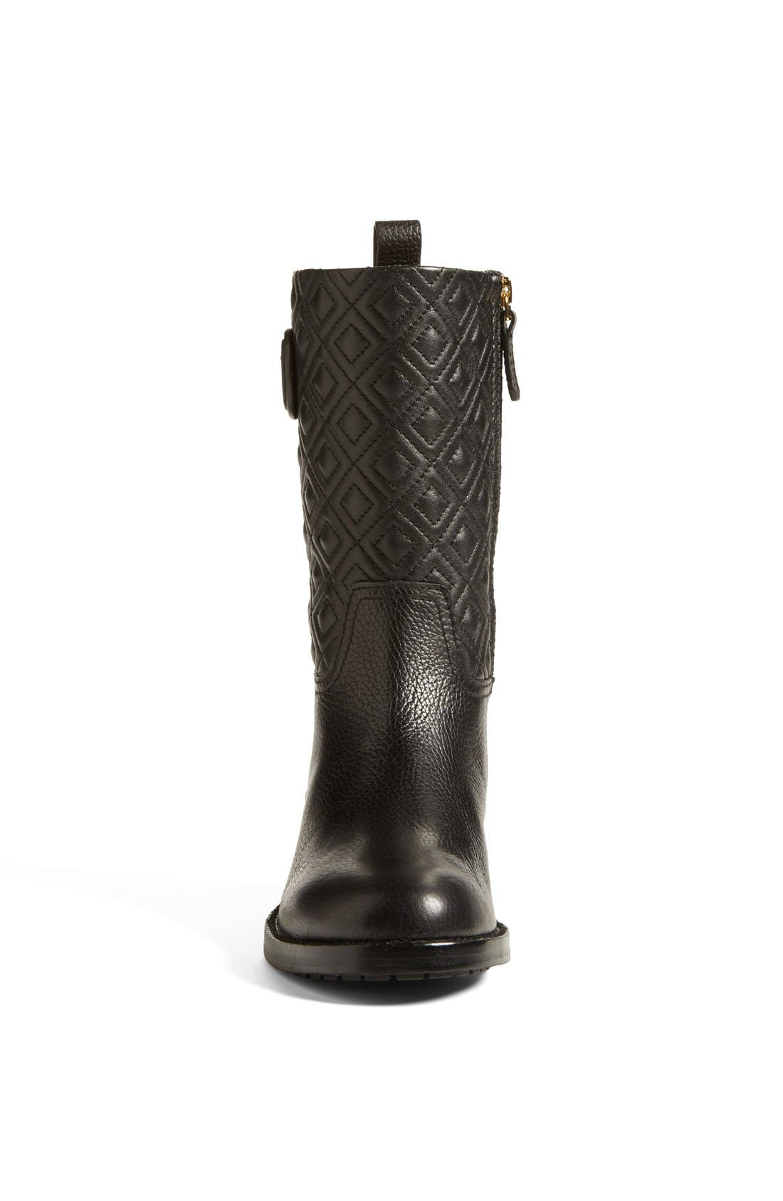 'Marion' Quilted Shaft Leather Boot,                             Alternate thumbnail 4, color,                             001