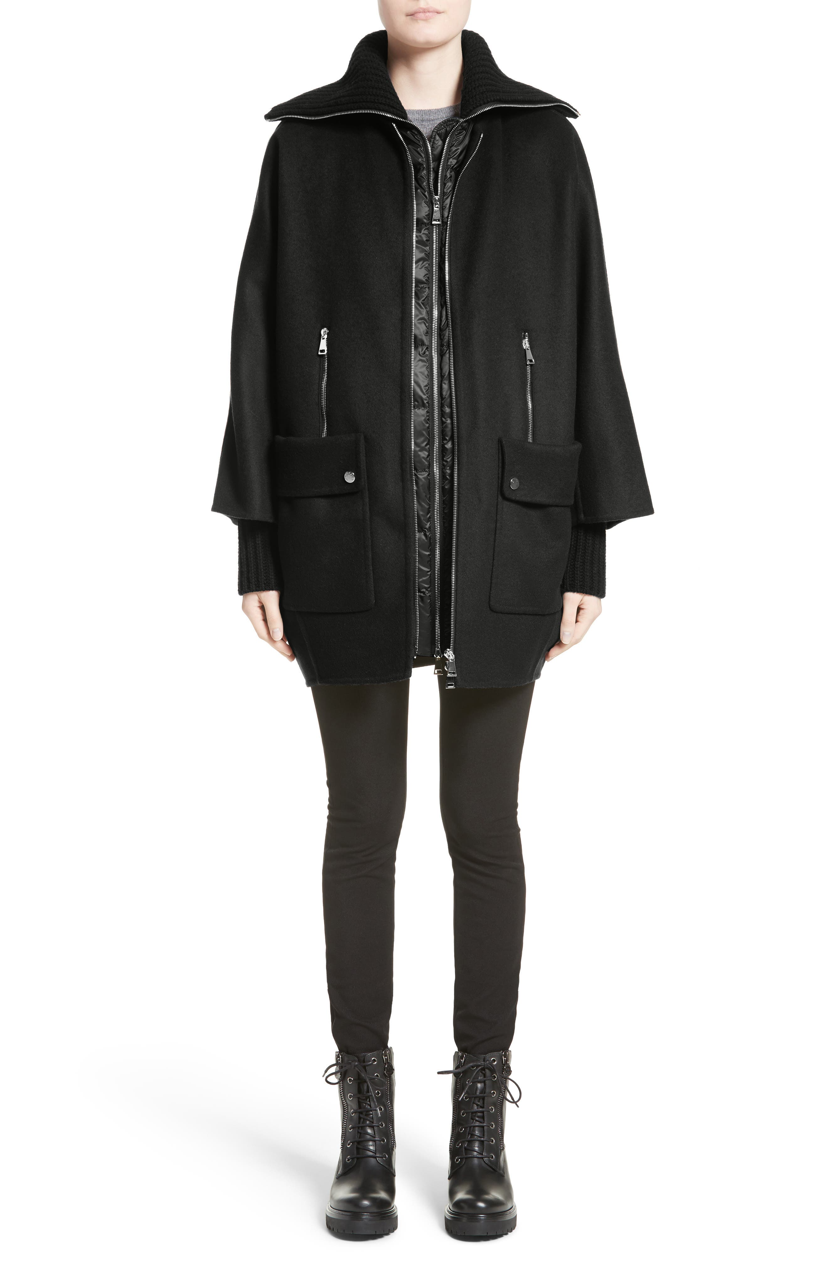 Acanthus Wool & Cashmere Coat with Removable Down Puffer Layer,                             Alternate thumbnail 7, color,                             BLACK