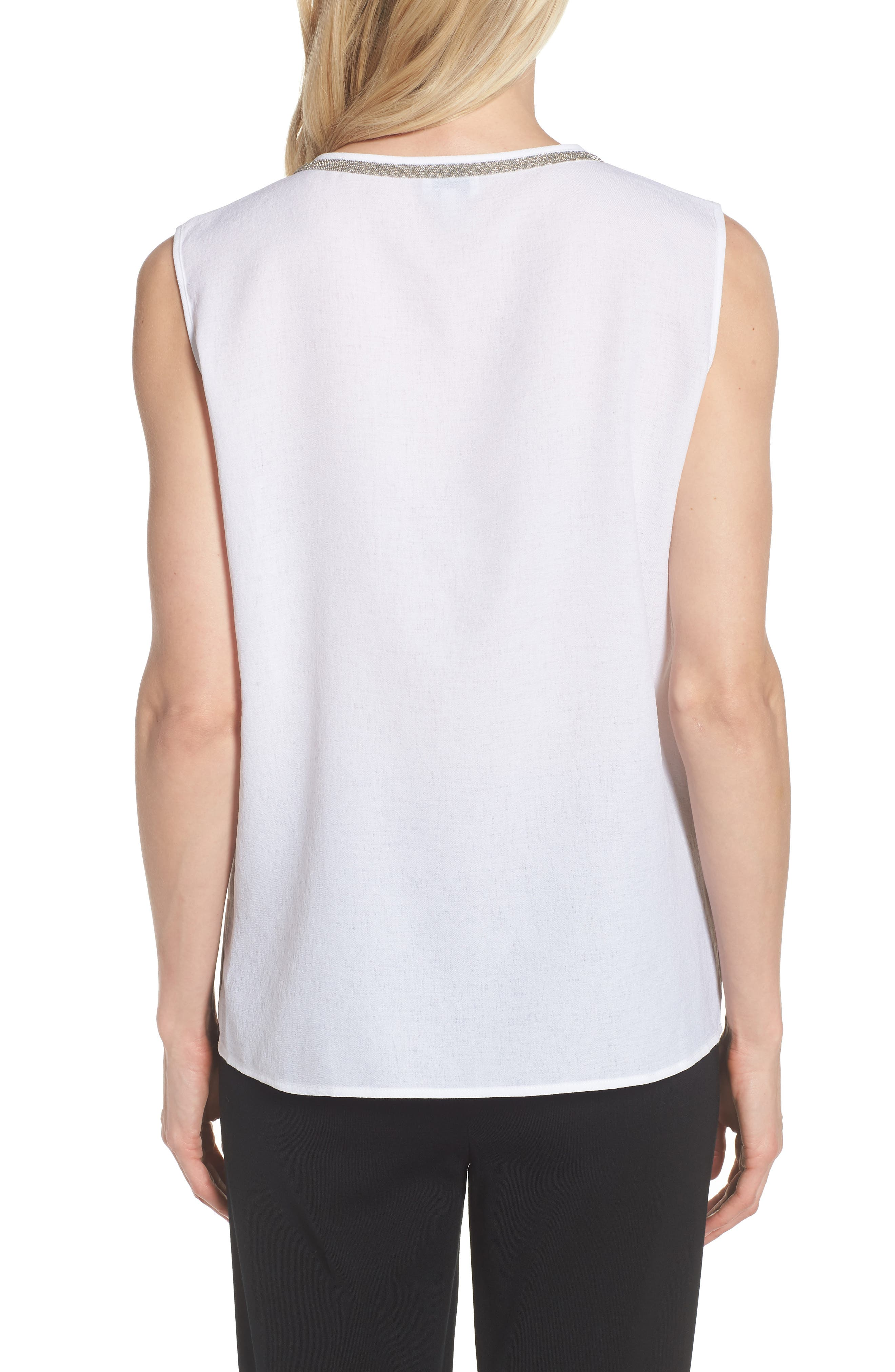 V-Neck Accent Tank,                             Alternate thumbnail 2, color,                             WHITE