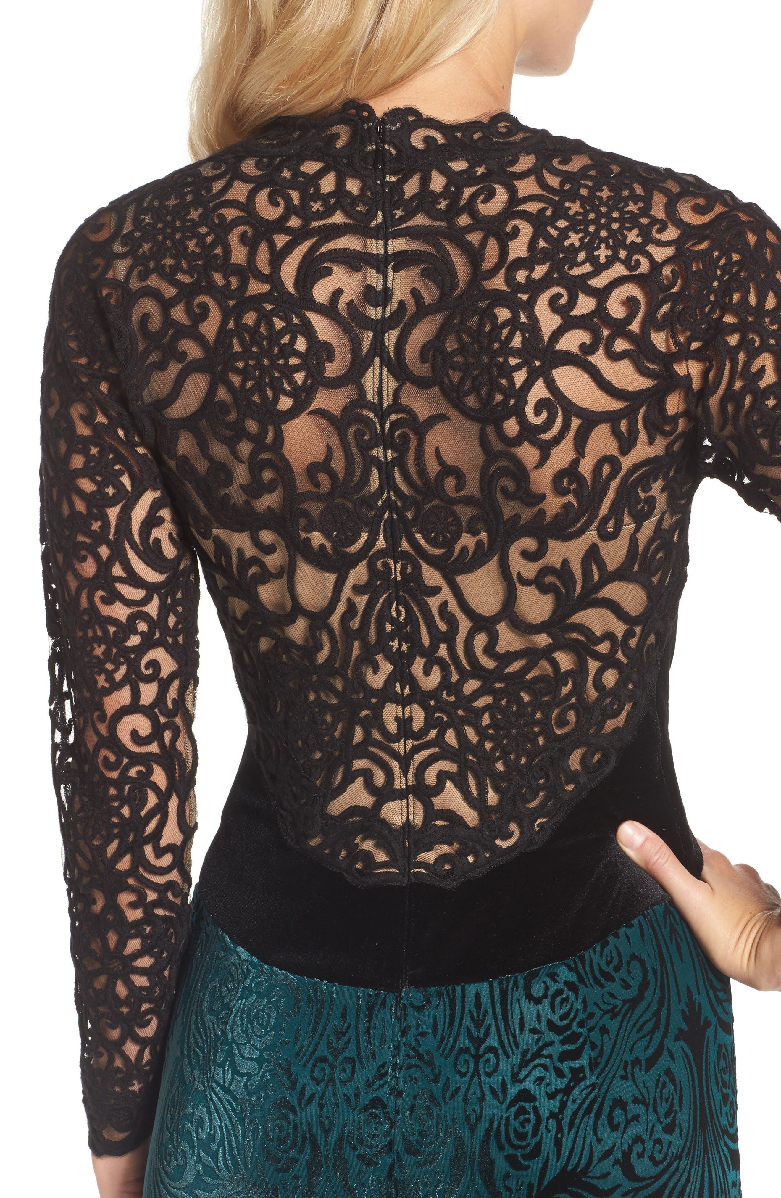 V-Neck Velvet & Illusion Gown,                             Alternate thumbnail 4, color,