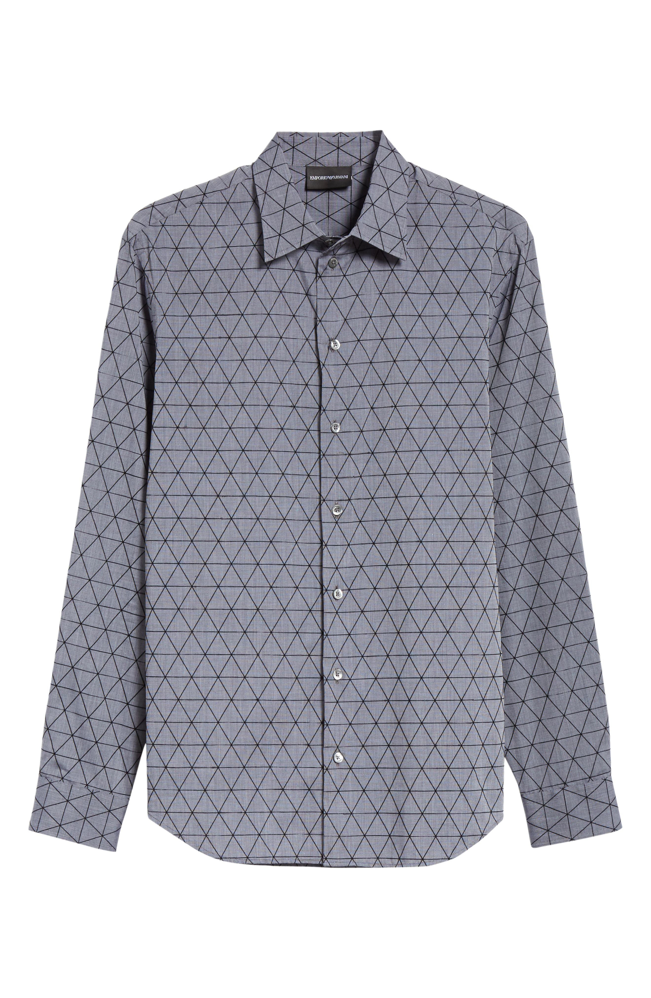 Regular Fit Geometric Sport Shirt,                             Alternate thumbnail 6, color,                             GREY MULTI