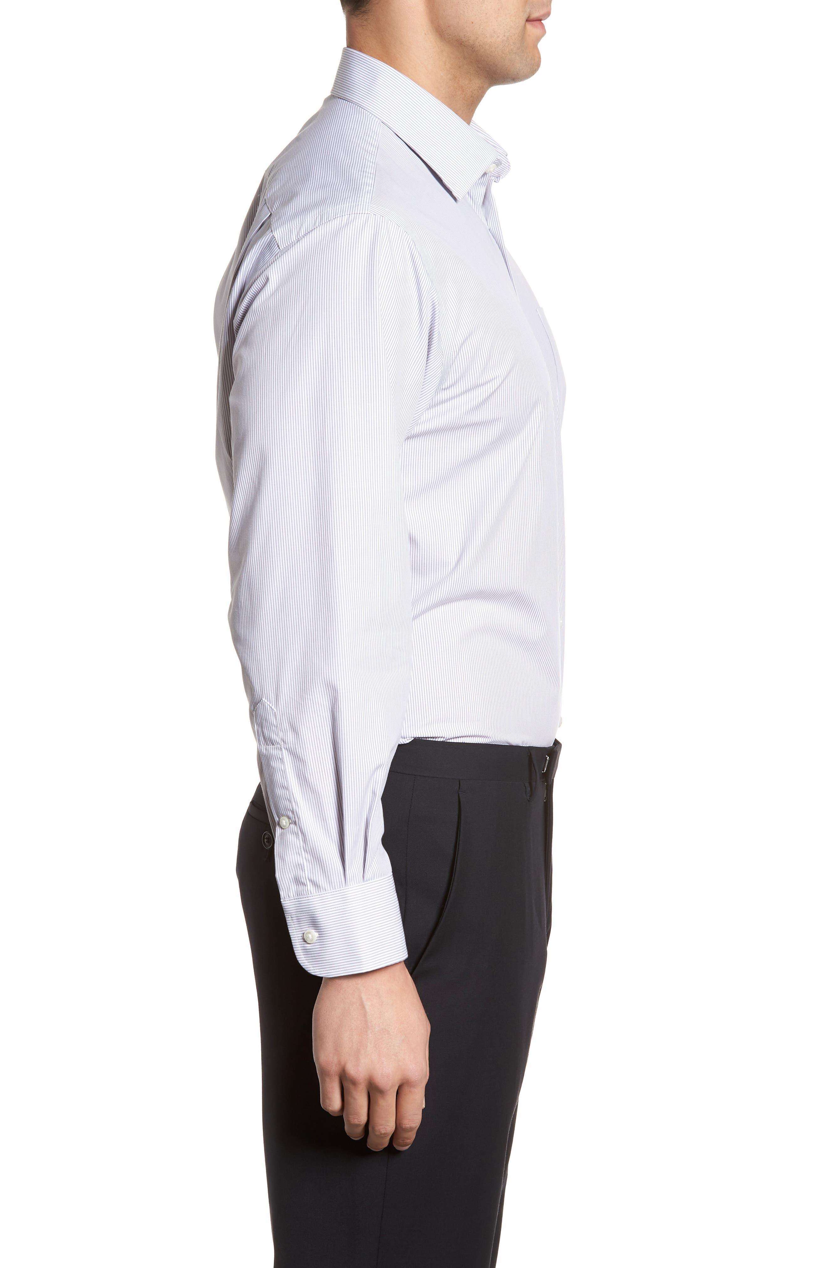 Classic Fit Non-Iron Stripe Dress Shirt,                             Alternate thumbnail 4, color,                             050