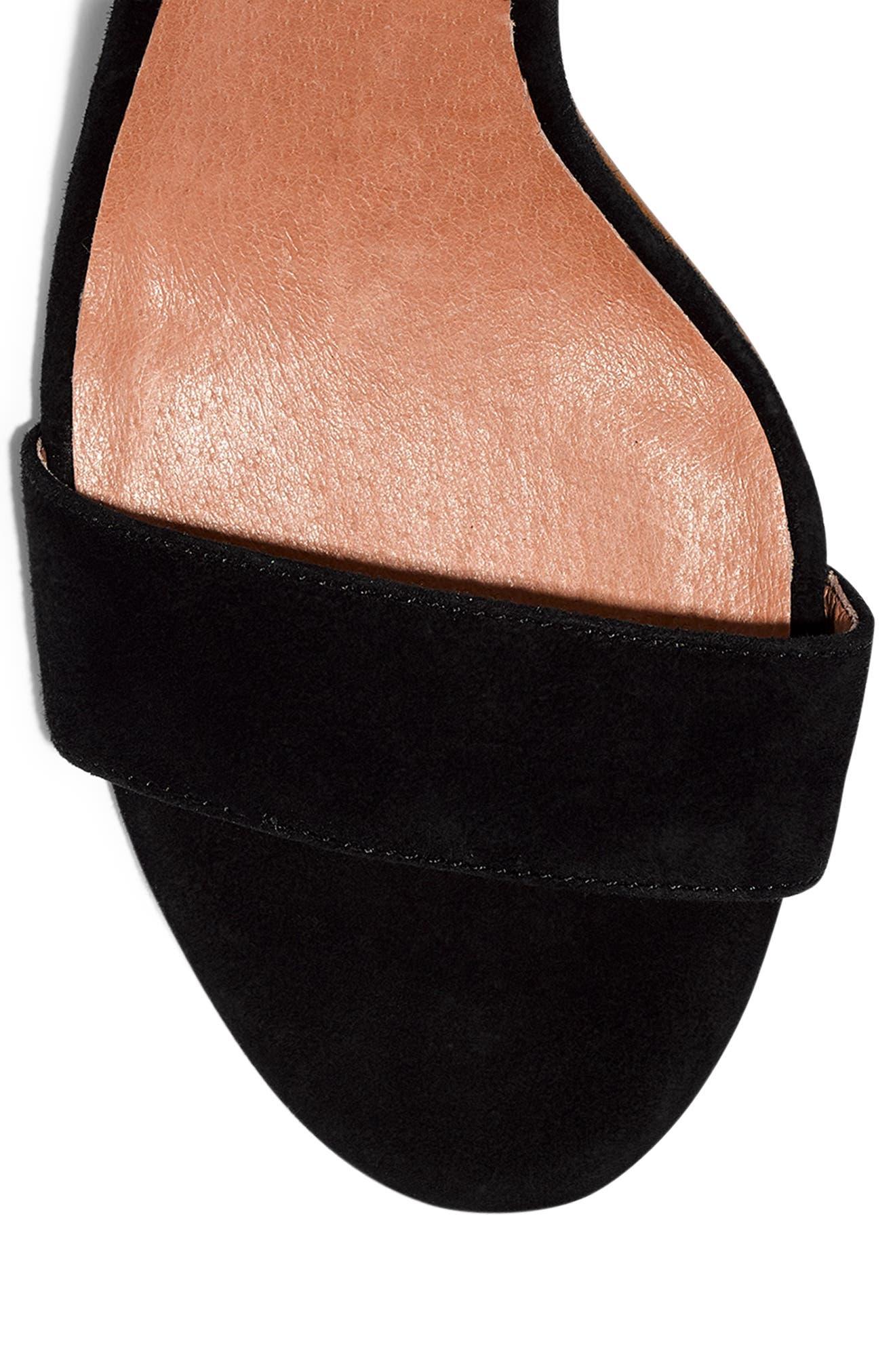 The Regina Ankle Strap Sandal,                             Alternate thumbnail 8, color,                             TRUE BLACK SUEDE
