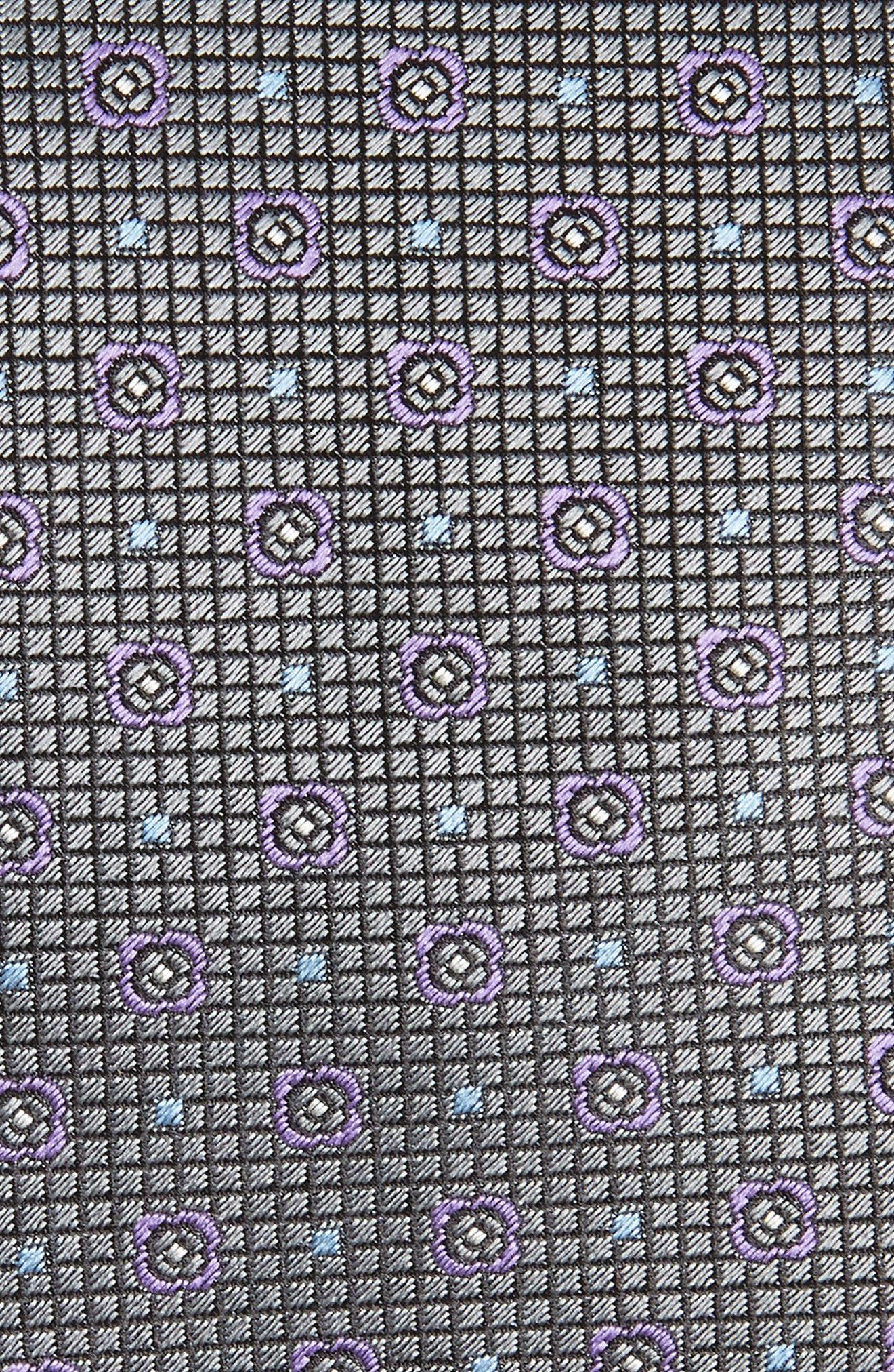 Medallion Silk Tie,                             Alternate thumbnail 2, color,                             SILVER