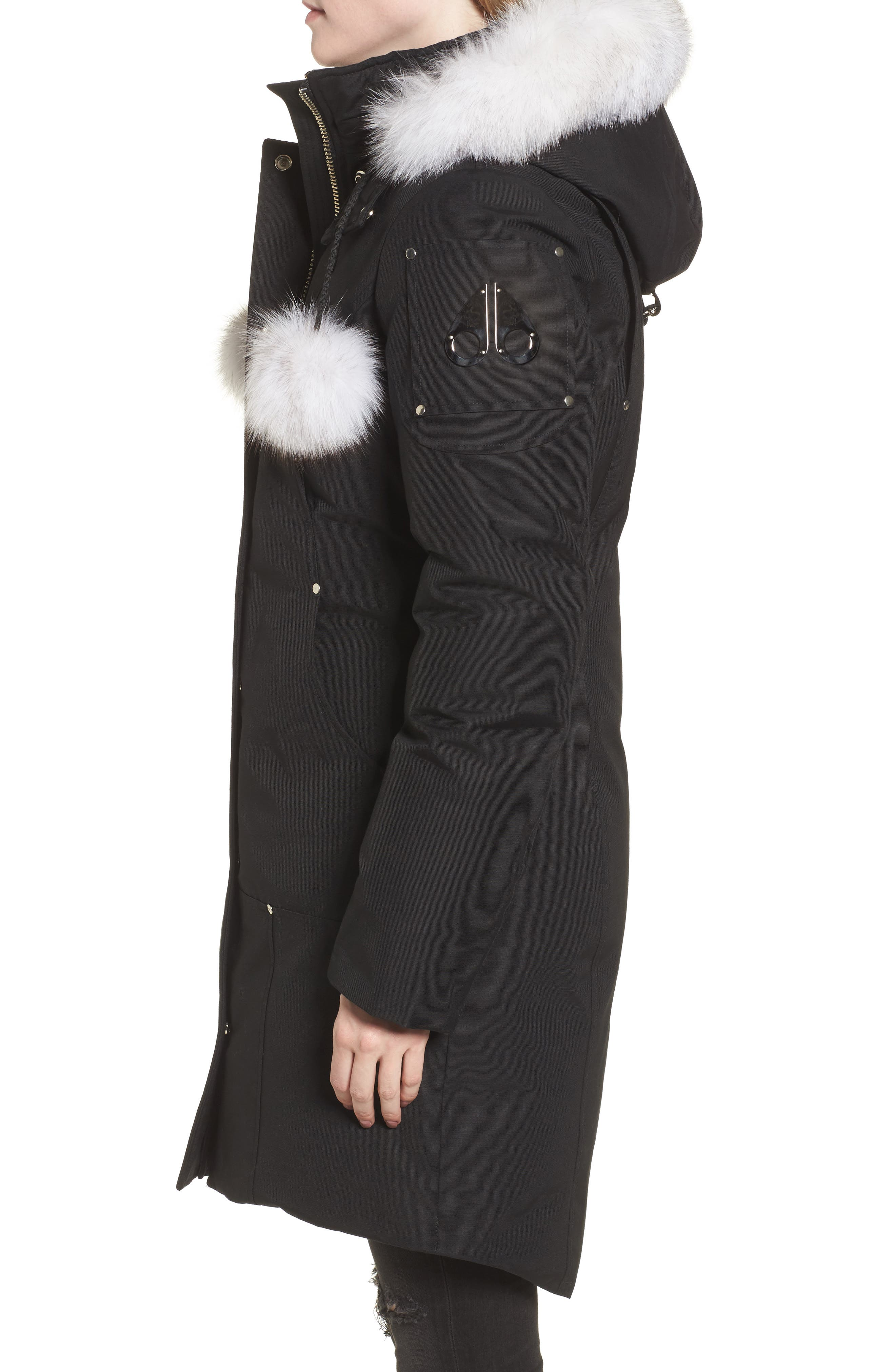 'Stirling' Down Parka with Genuine Fox Fur Trim,                             Alternate thumbnail 4, color,                             BLACK/ WHITE FUR