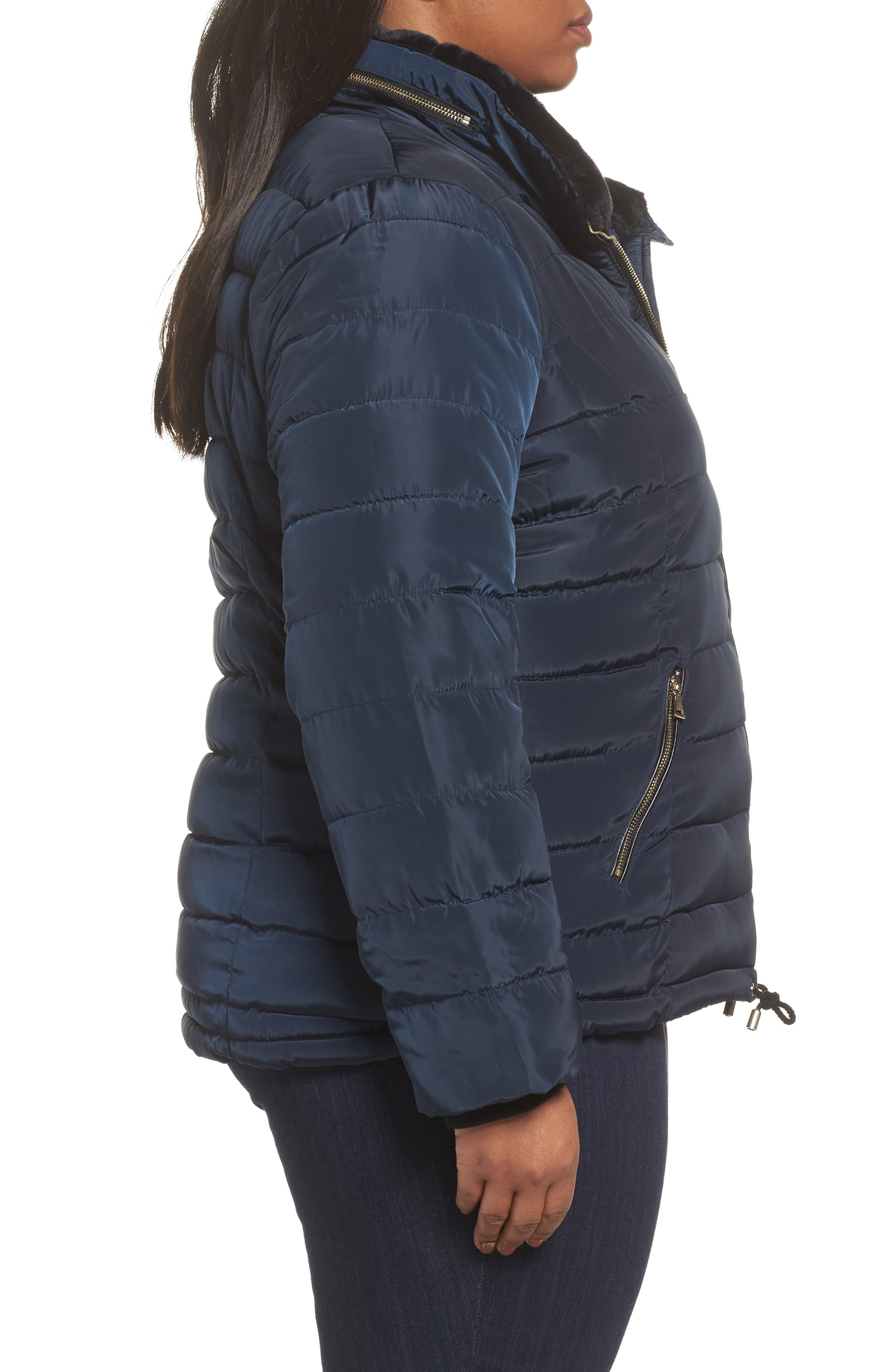 Faux Fur Trim Hooded Puffer Jacket,                             Alternate thumbnail 3, color,                             400