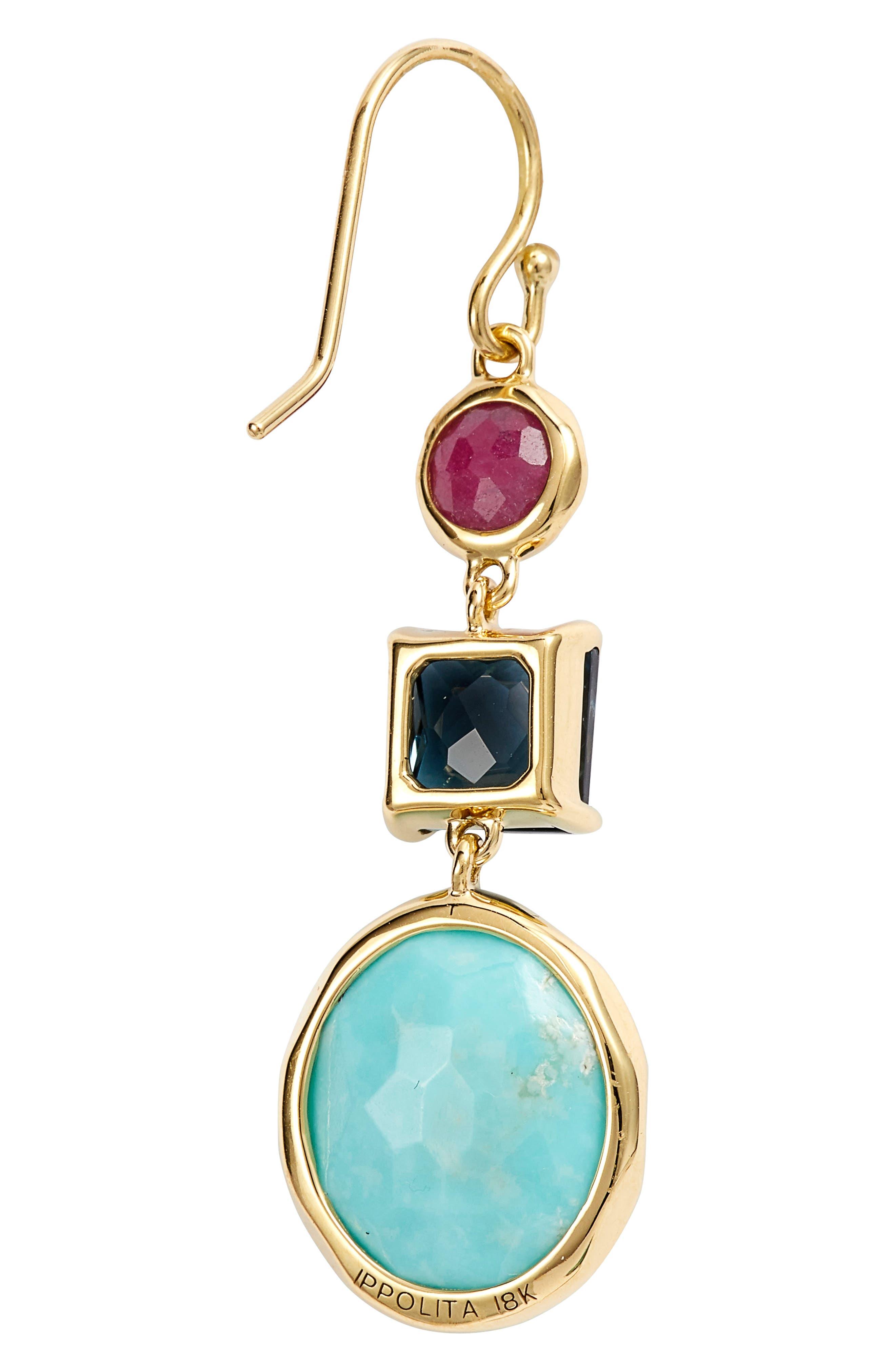 Rock Candy 18K Gold Triple Stone Earrings,                             Alternate thumbnail 3, color,                             GOLD/ SUMMER RAIN