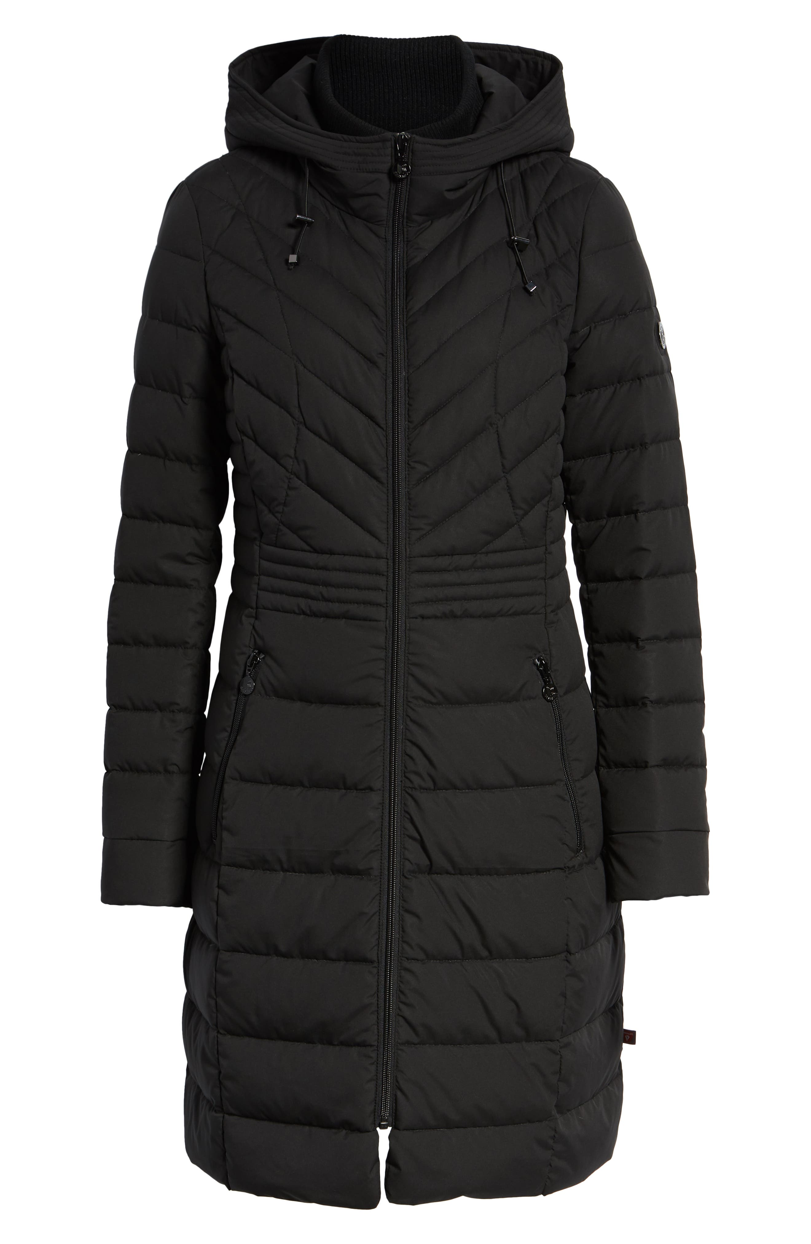 Stretch Quilted Walker Coat,                             Alternate thumbnail 6, color,                             001