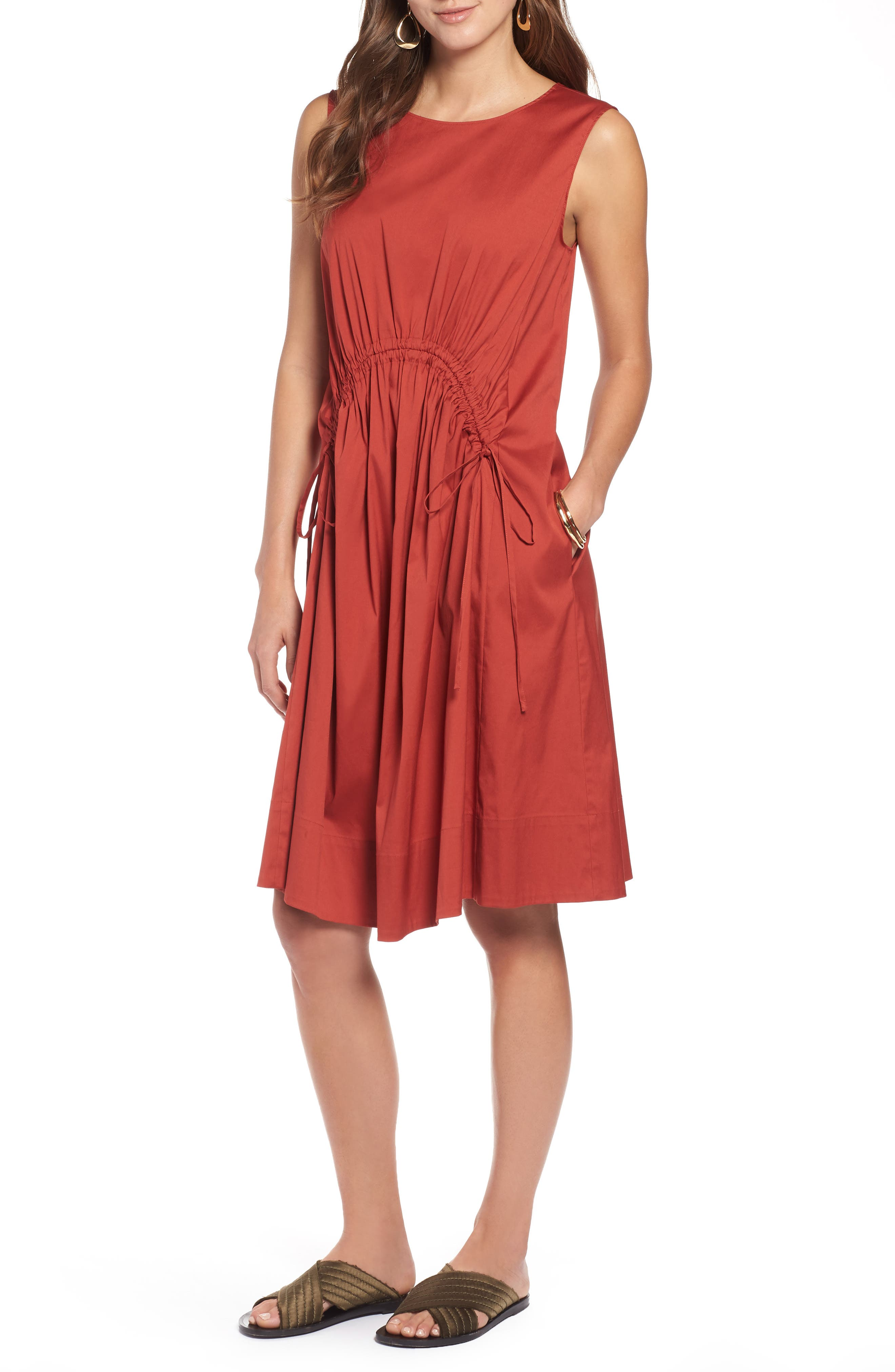 Drawcord Stretch Cotton Blend Dress,                         Main,                         color, 221