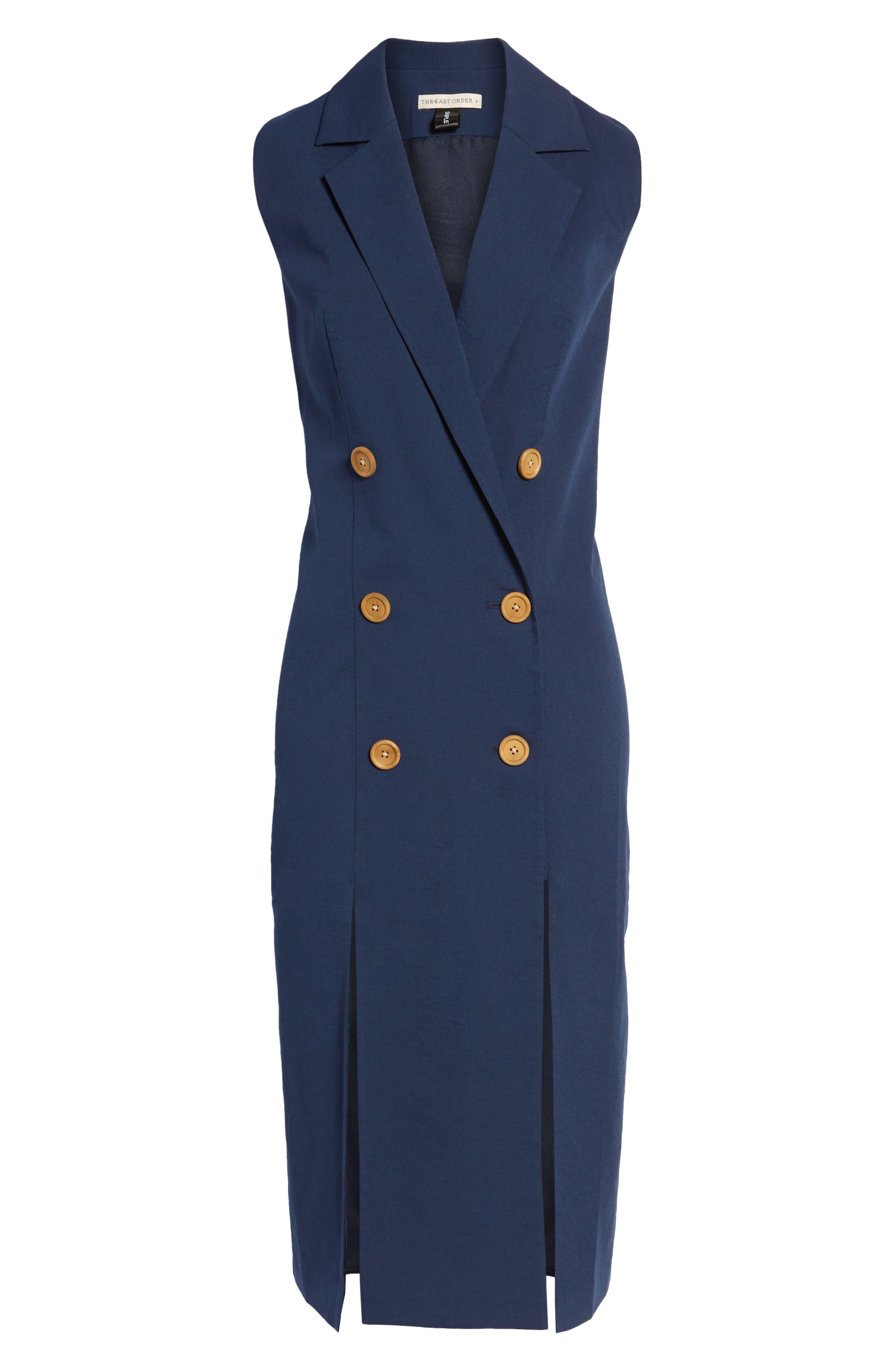 Brigitte Midi Dress,                             Alternate thumbnail 7, color,                             NAVY