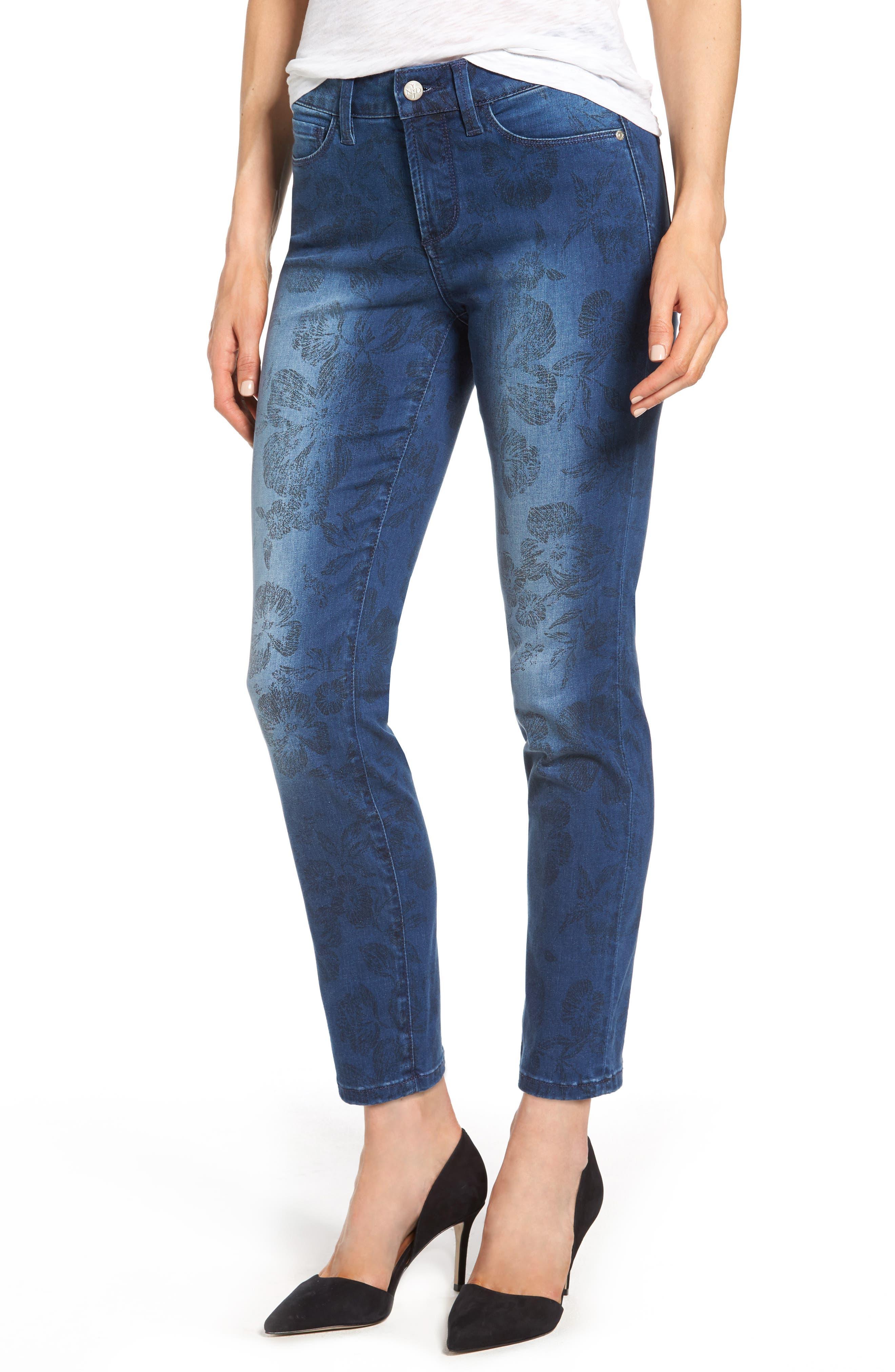 Alina Print Slim Ankle Jeans,                         Main,                         color, 490