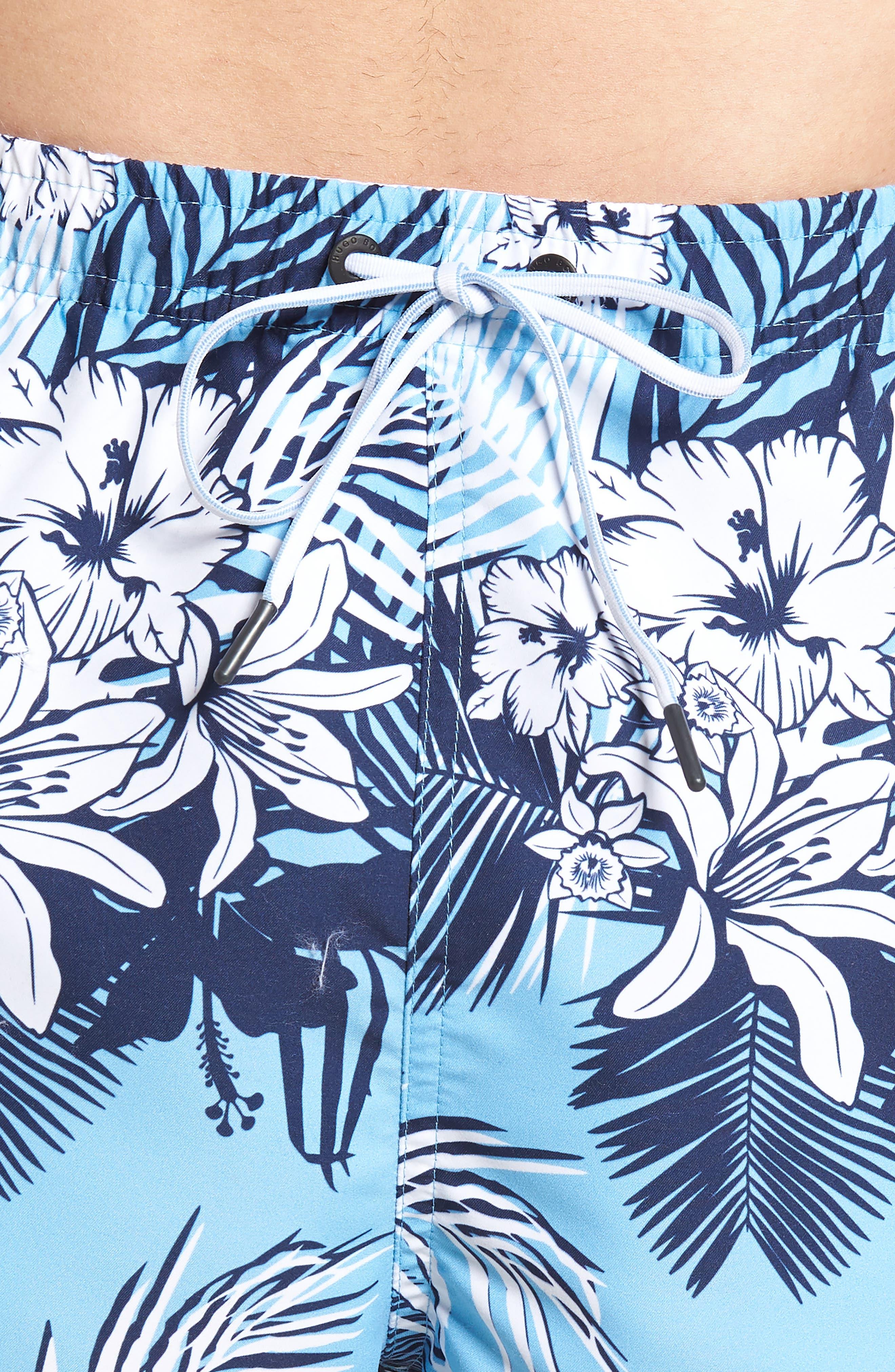 Piranha Floral Swim Trunks,                             Alternate thumbnail 4, color,