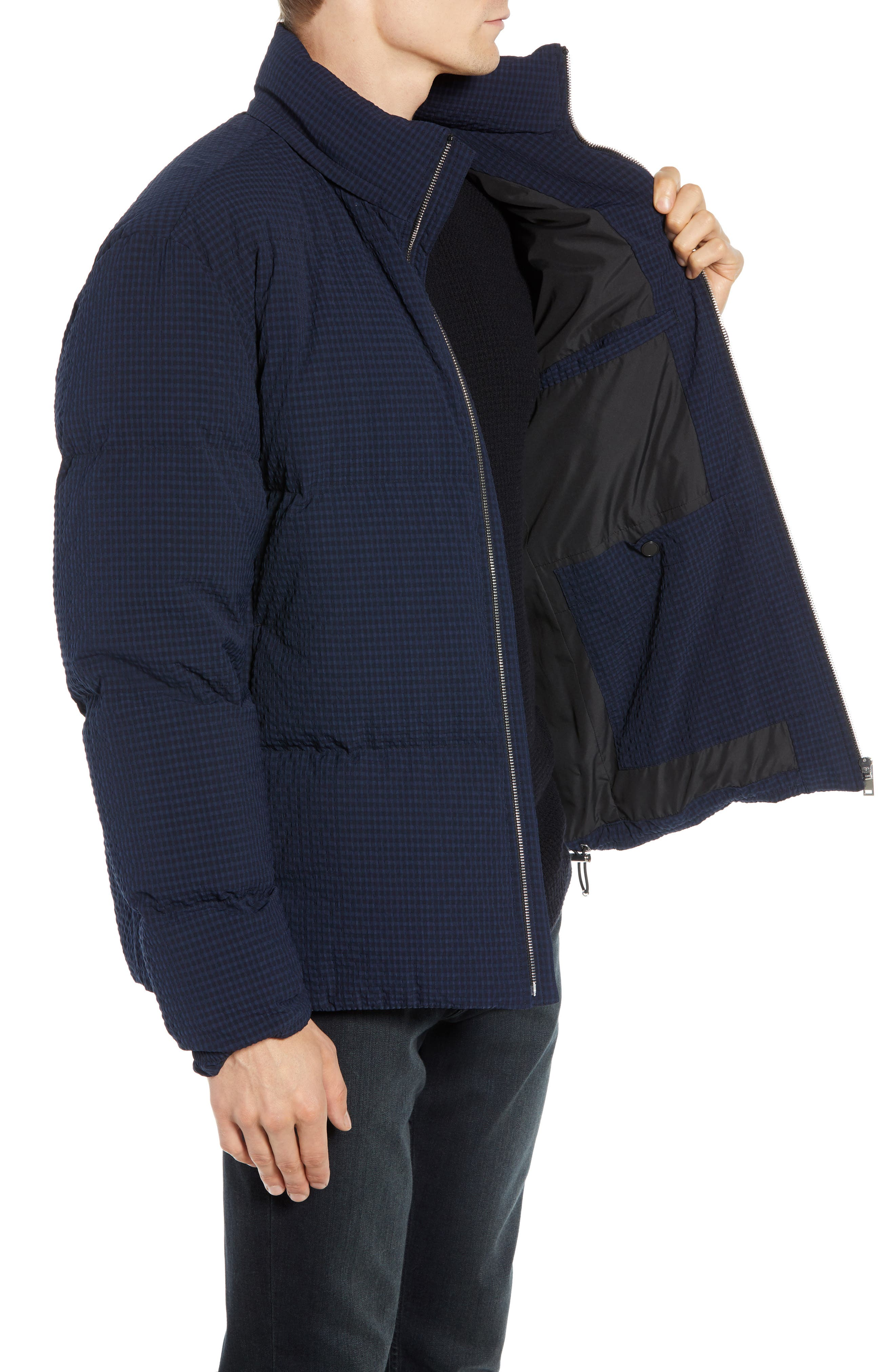 Fulton 3 Regular Fit Seersucker Puffer Jacket,                             Alternate thumbnail 3, color,                             ECLIPSE MULTI