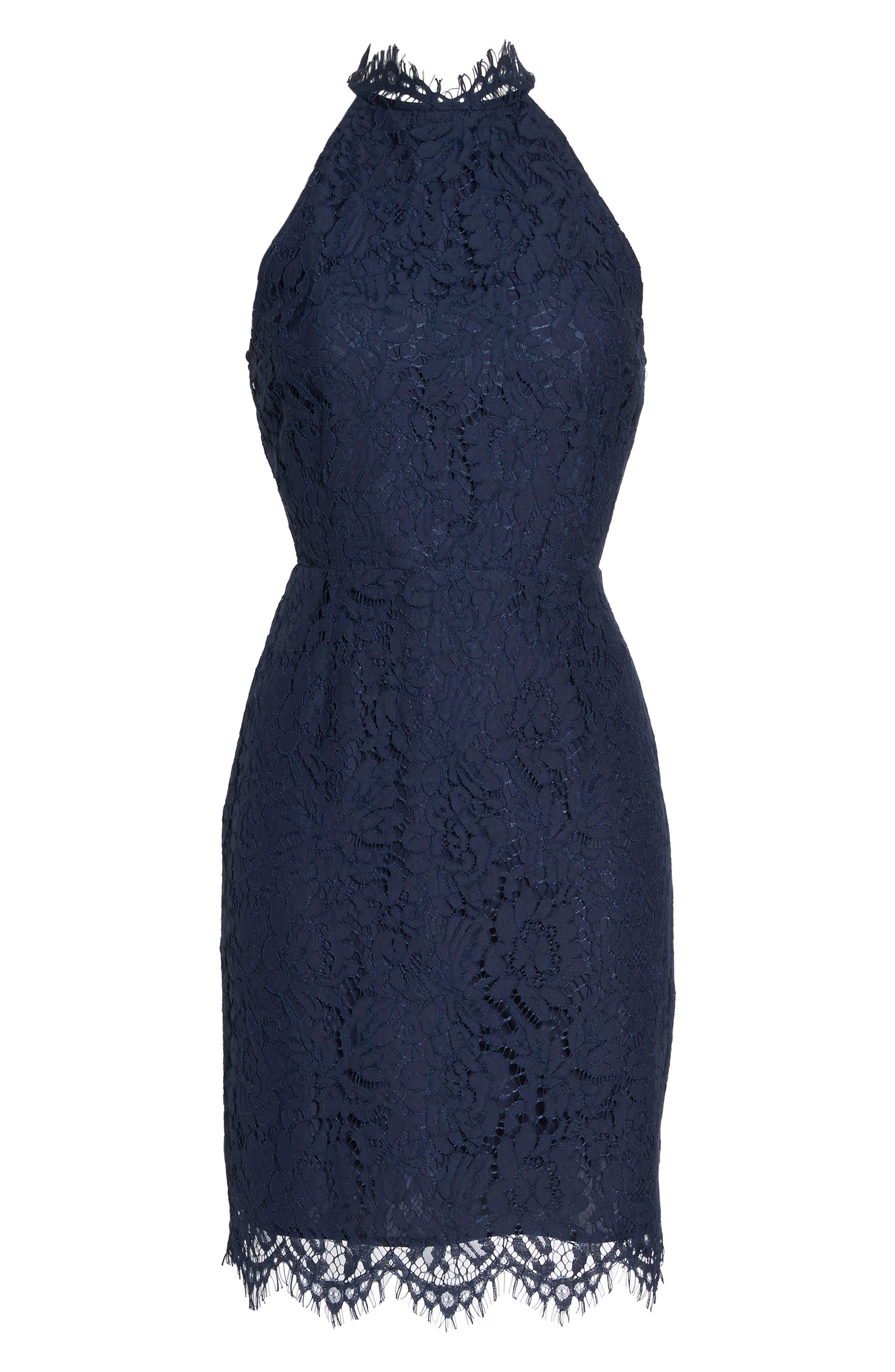 'Cara' High Neck Lace Dress,                             Alternate thumbnail 7, color,                             NAVY