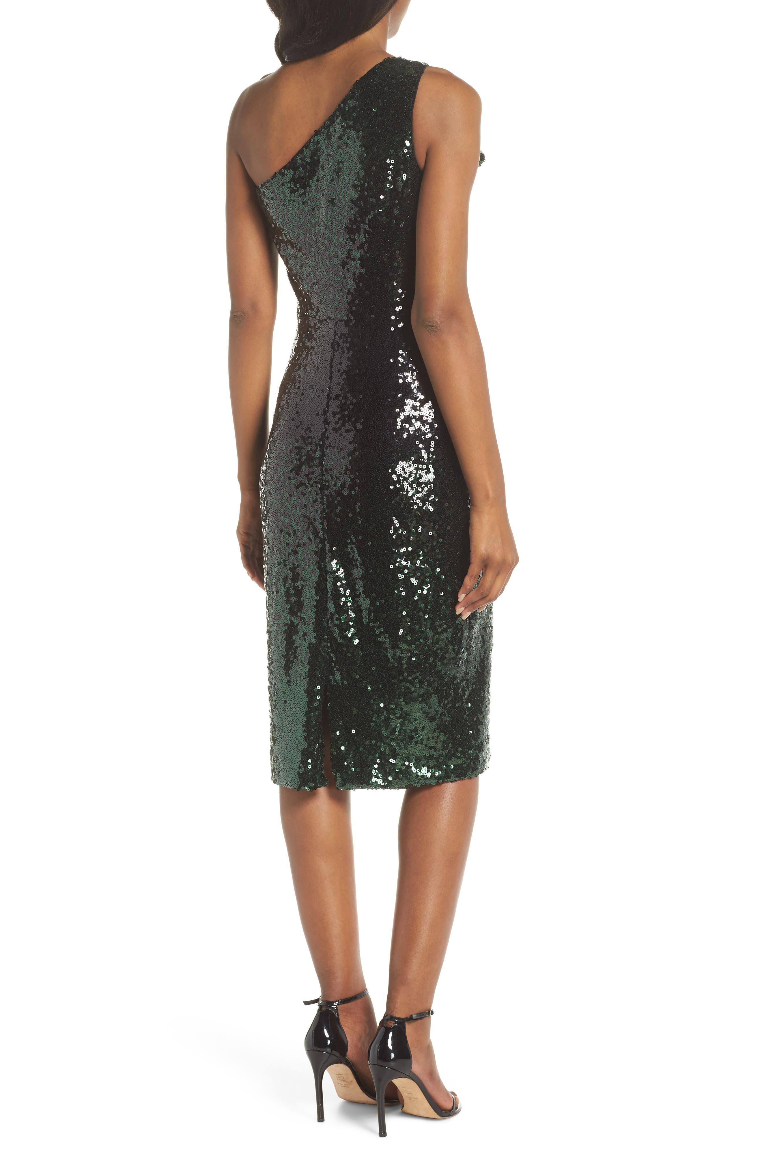One-Shoulder Midi Dress,                             Alternate thumbnail 2, color,                             HUNTER